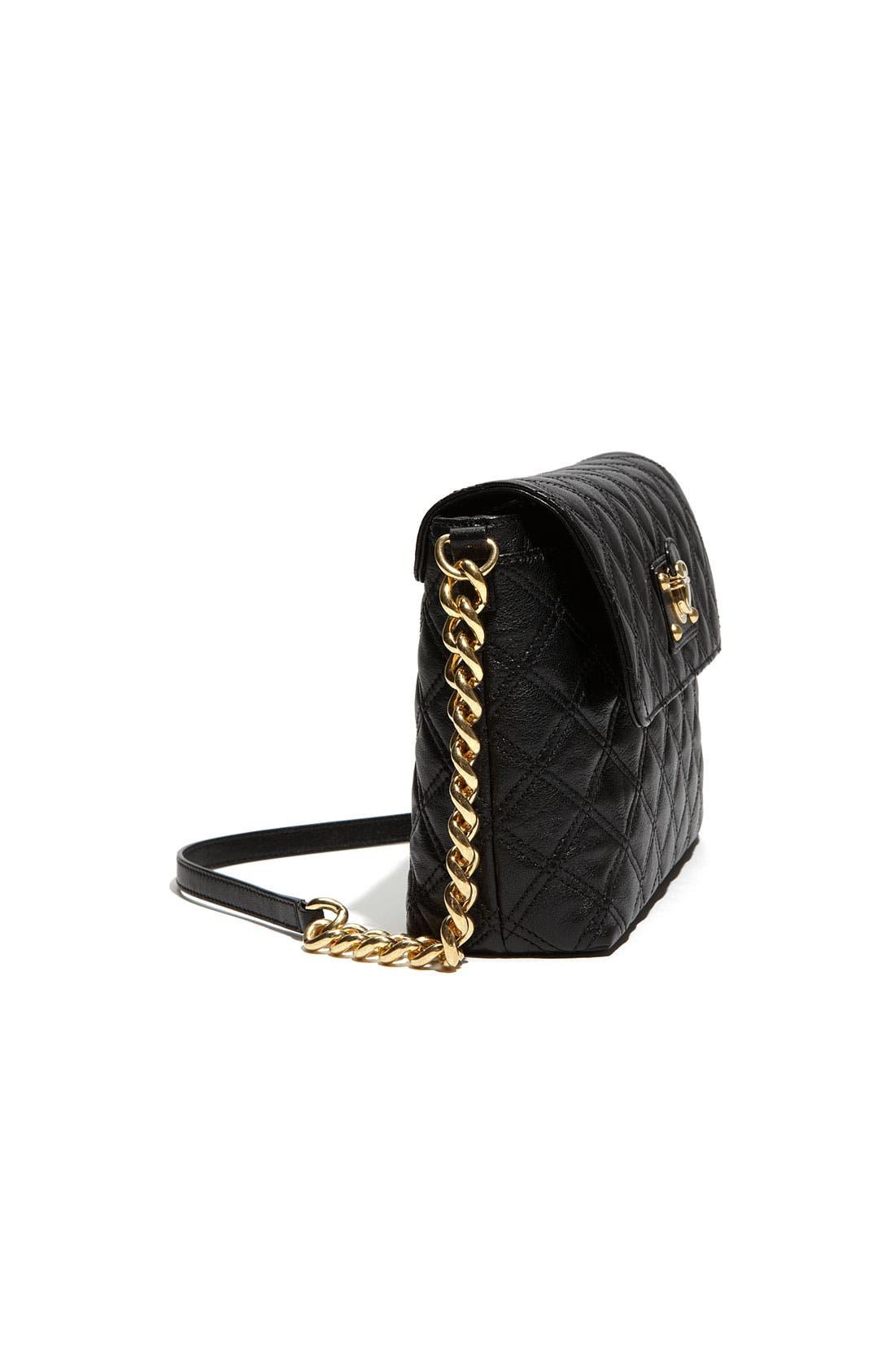 'Large Quilting Single' Leather Shoulder Bag,                             Alternate thumbnail 2, color,                             001