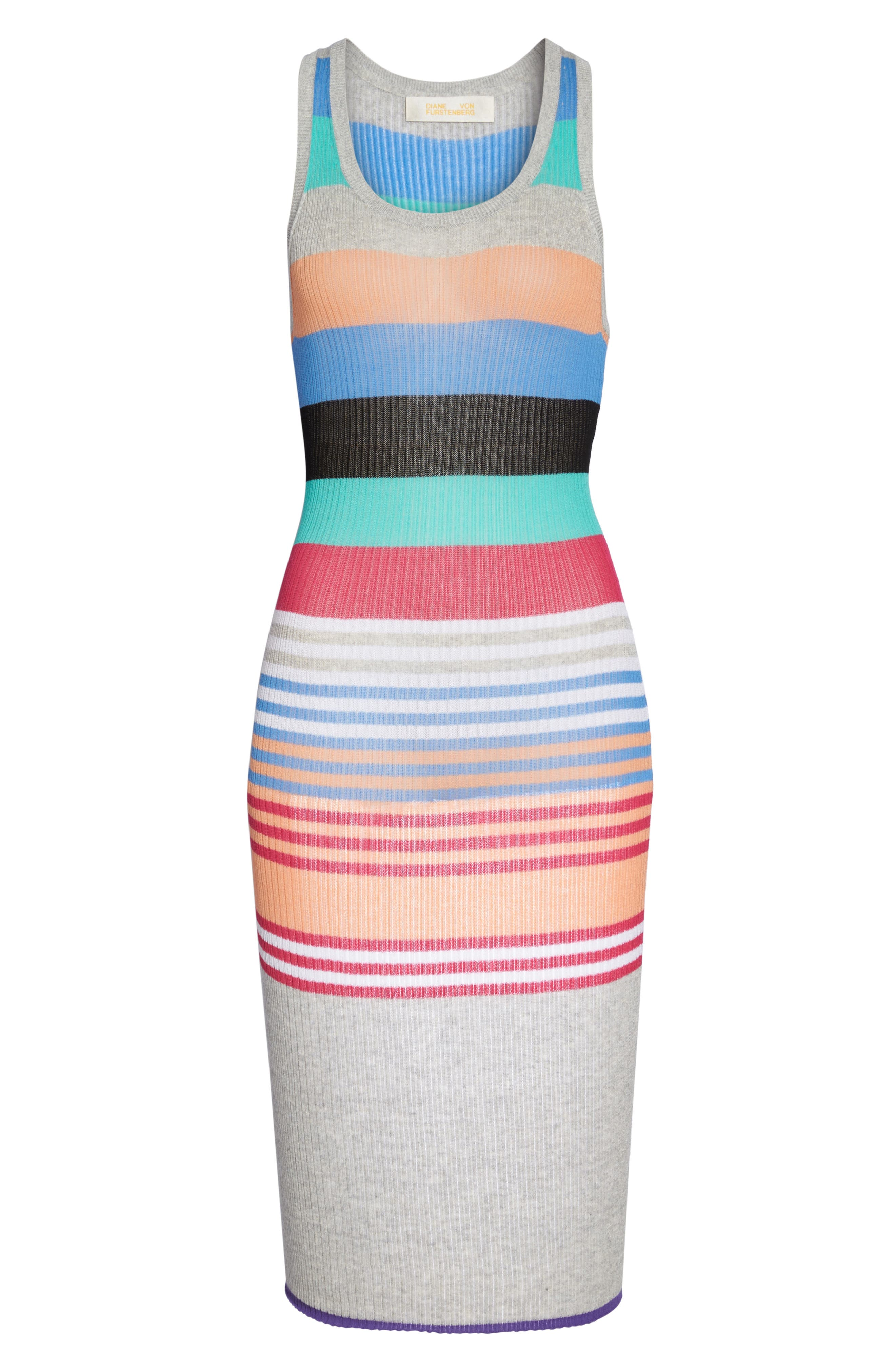 Knit Cover-Up Dress,                             Alternate thumbnail 6, color,                             001