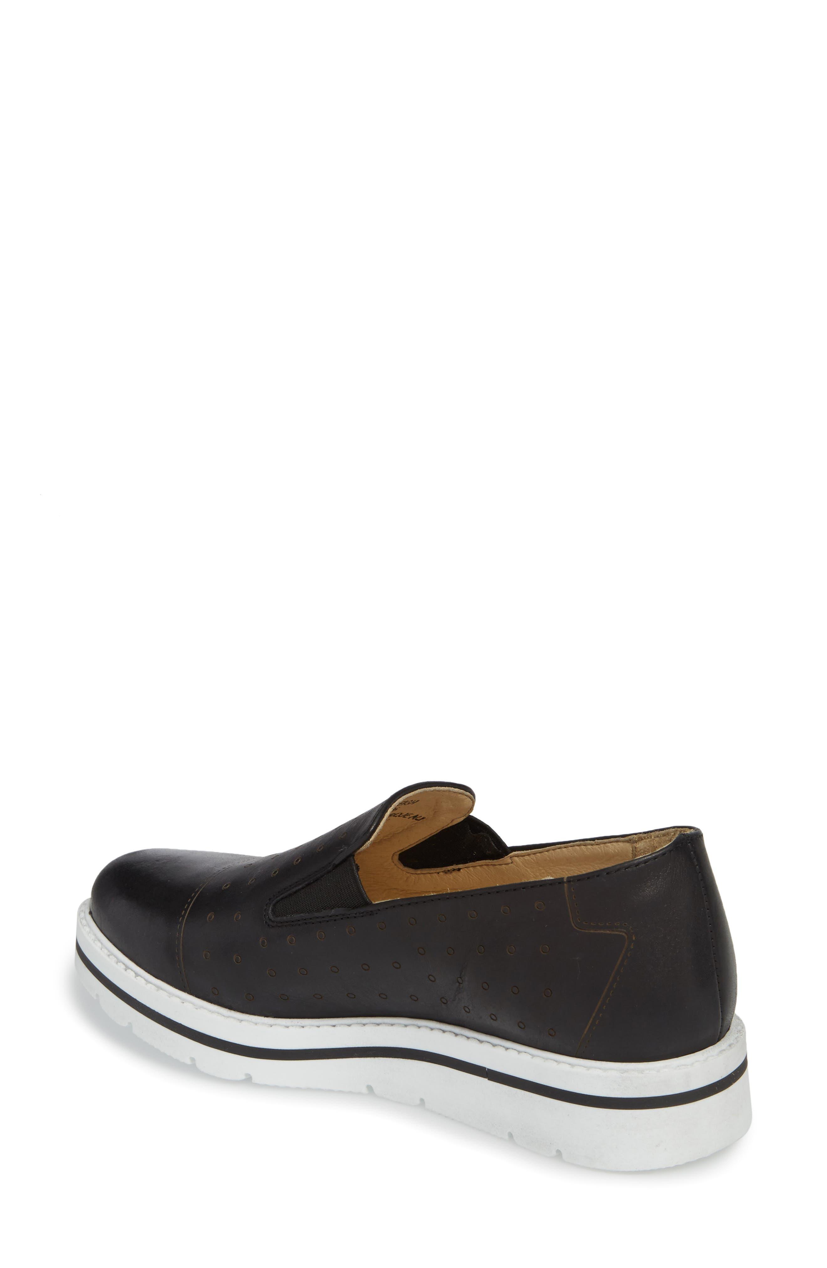 Leigh Slip-On Sneaker,                             Alternate thumbnail 2, color,                             BLACK GLAMOUR LEATHER