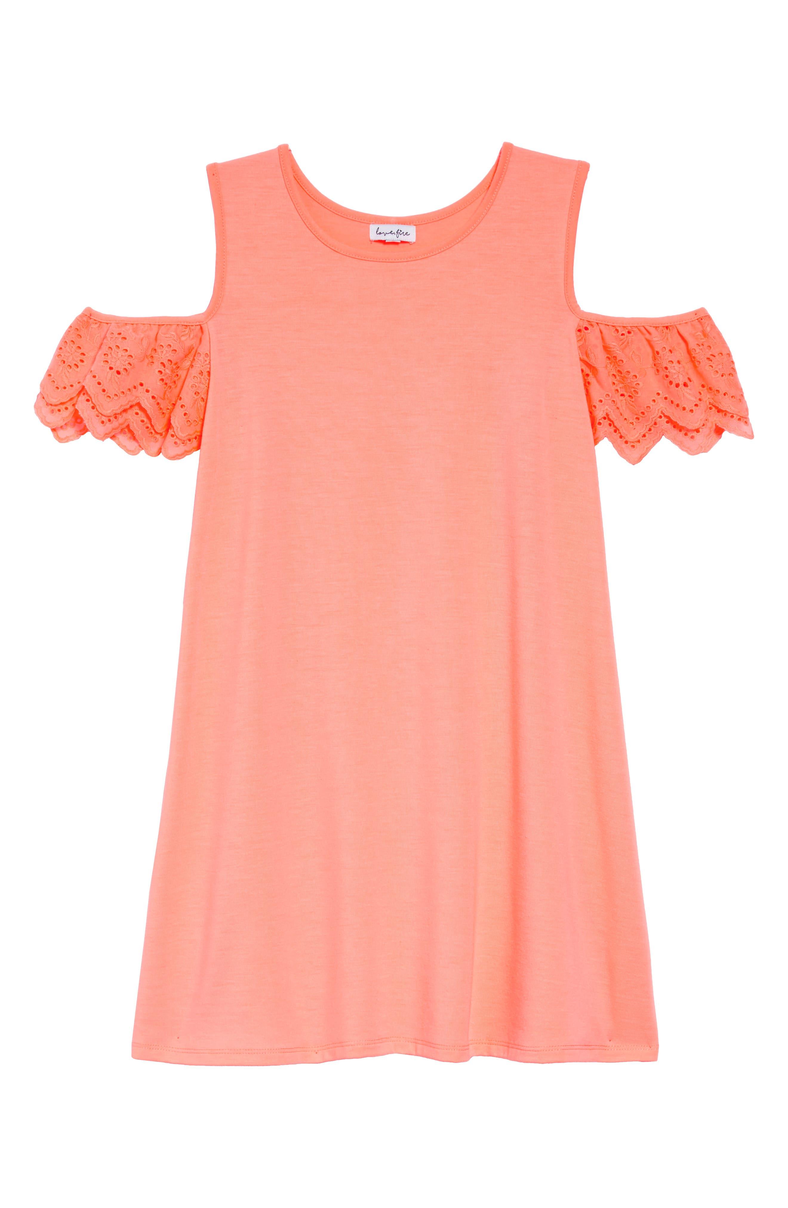Eyelet Cold Shoulder T-Shirt Dress,                             Main thumbnail 1, color,                             NEON CORAL