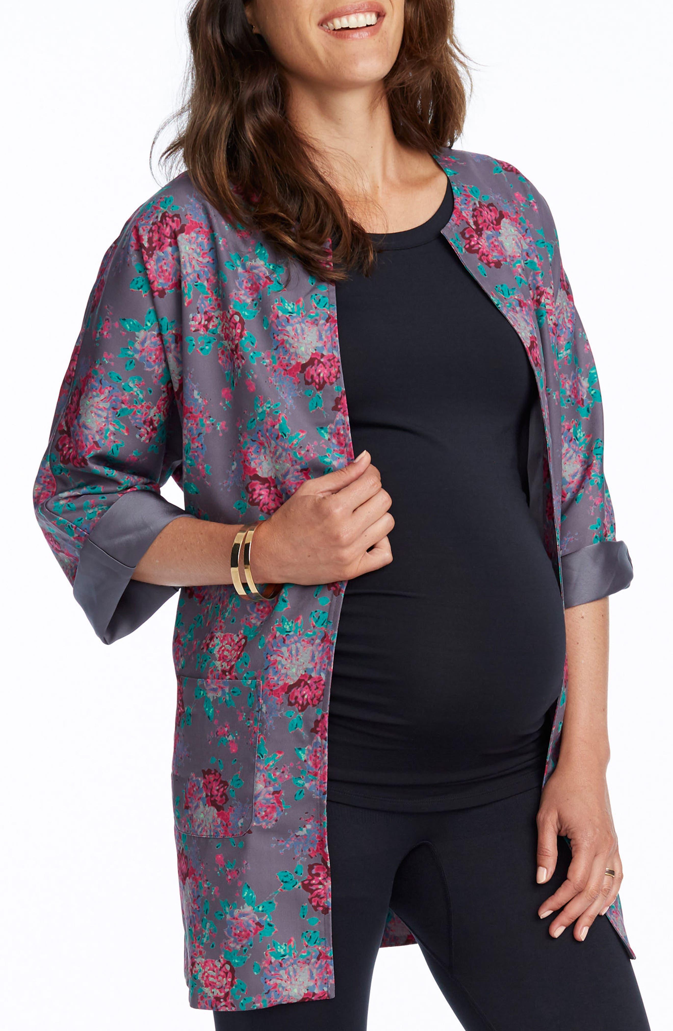 Bella Maternity Kimono Jacket,                             Alternate thumbnail 3, color,                             060