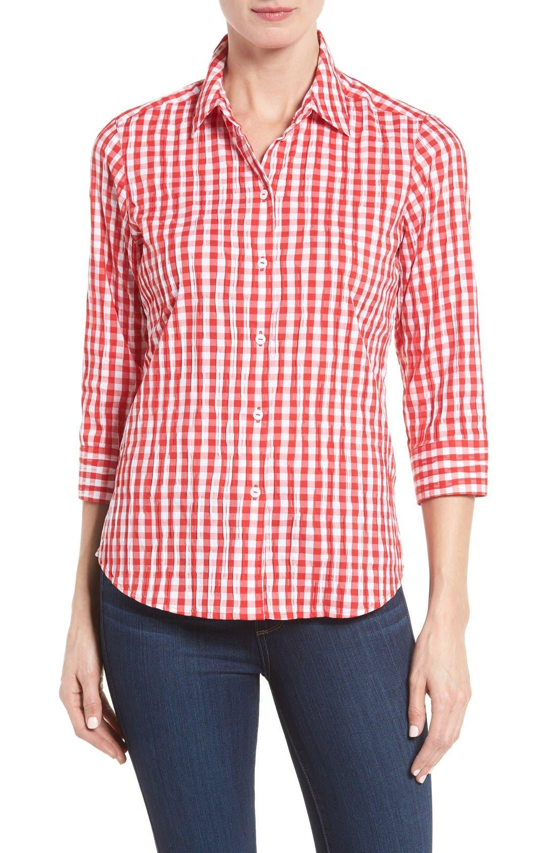Crinkled Gingham Shirt,                             Main thumbnail 4, color,