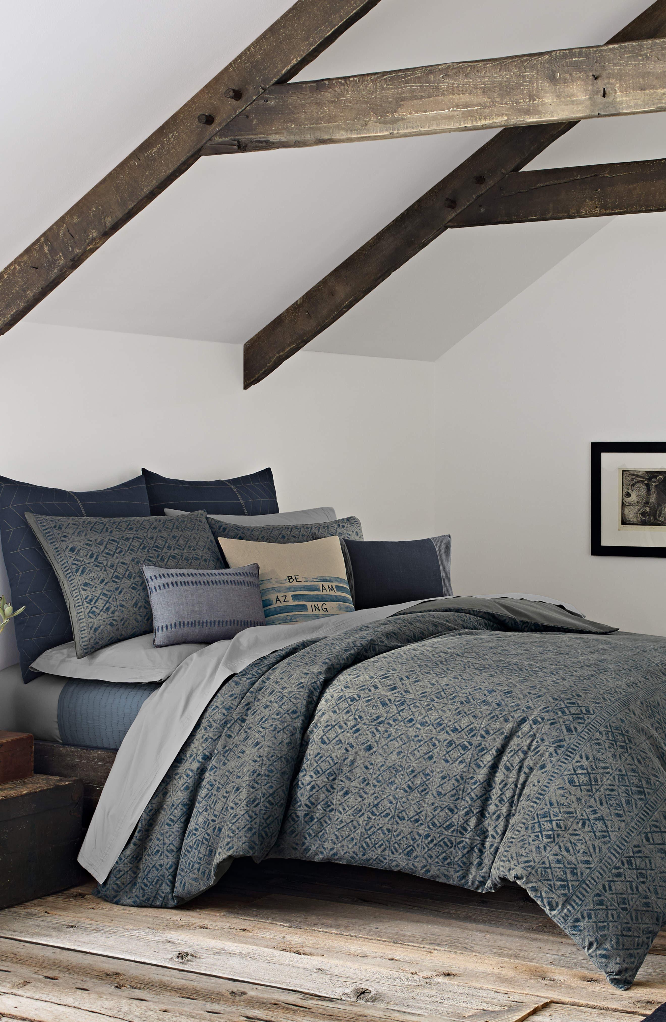 Nomad Comforter & Sham Set,                         Main,                         color, NAVY
