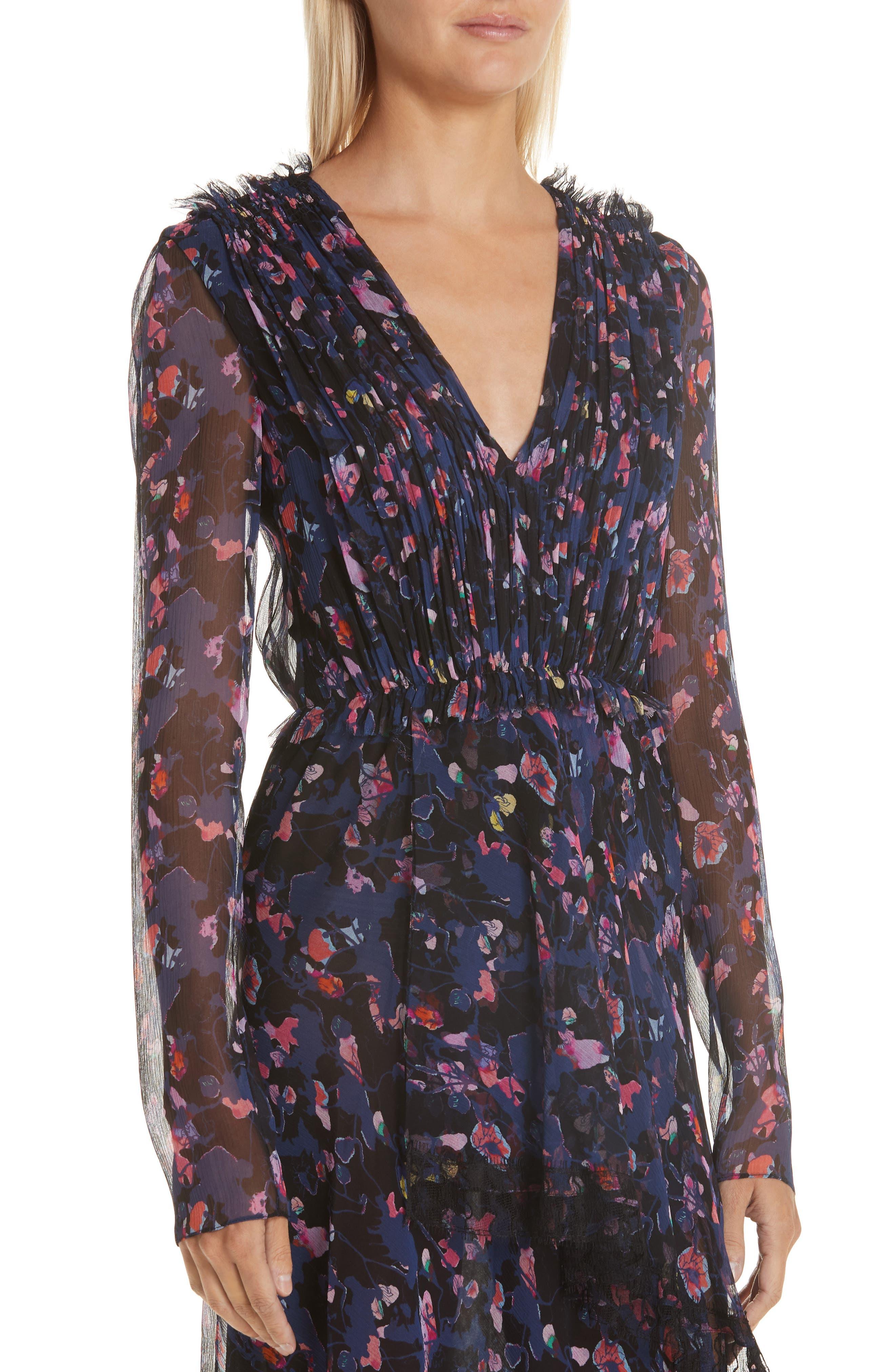 Print Silk Chiffon Midi Dress,                             Alternate thumbnail 4, color,                             BLACK MULTI