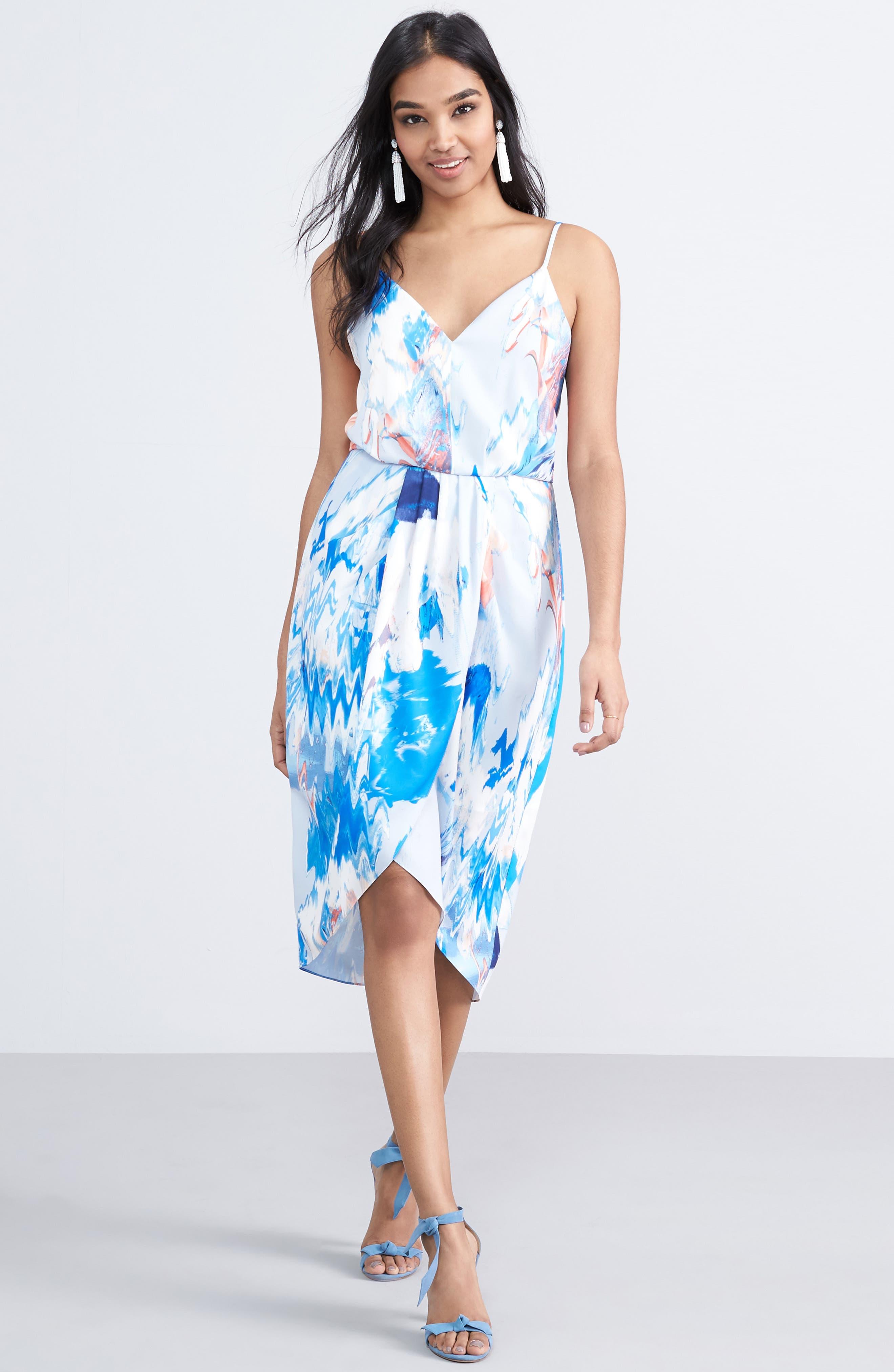 Print Faux Wrap Dress,                             Alternate thumbnail 6, color,                             BLUE WATERCOLOR FLORAL PRINT