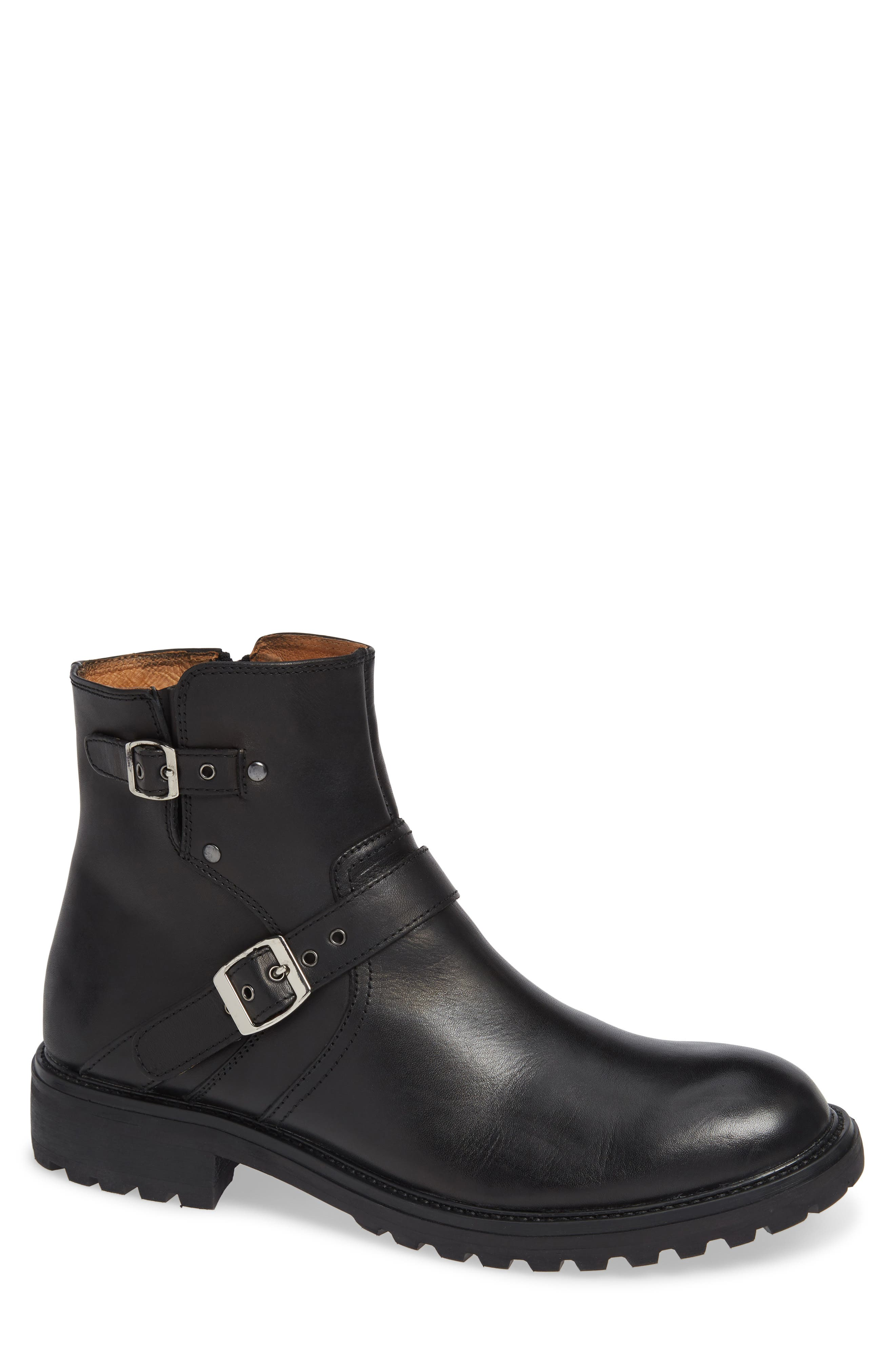 Jump Byker Double Buckle Lugged Boot, Black