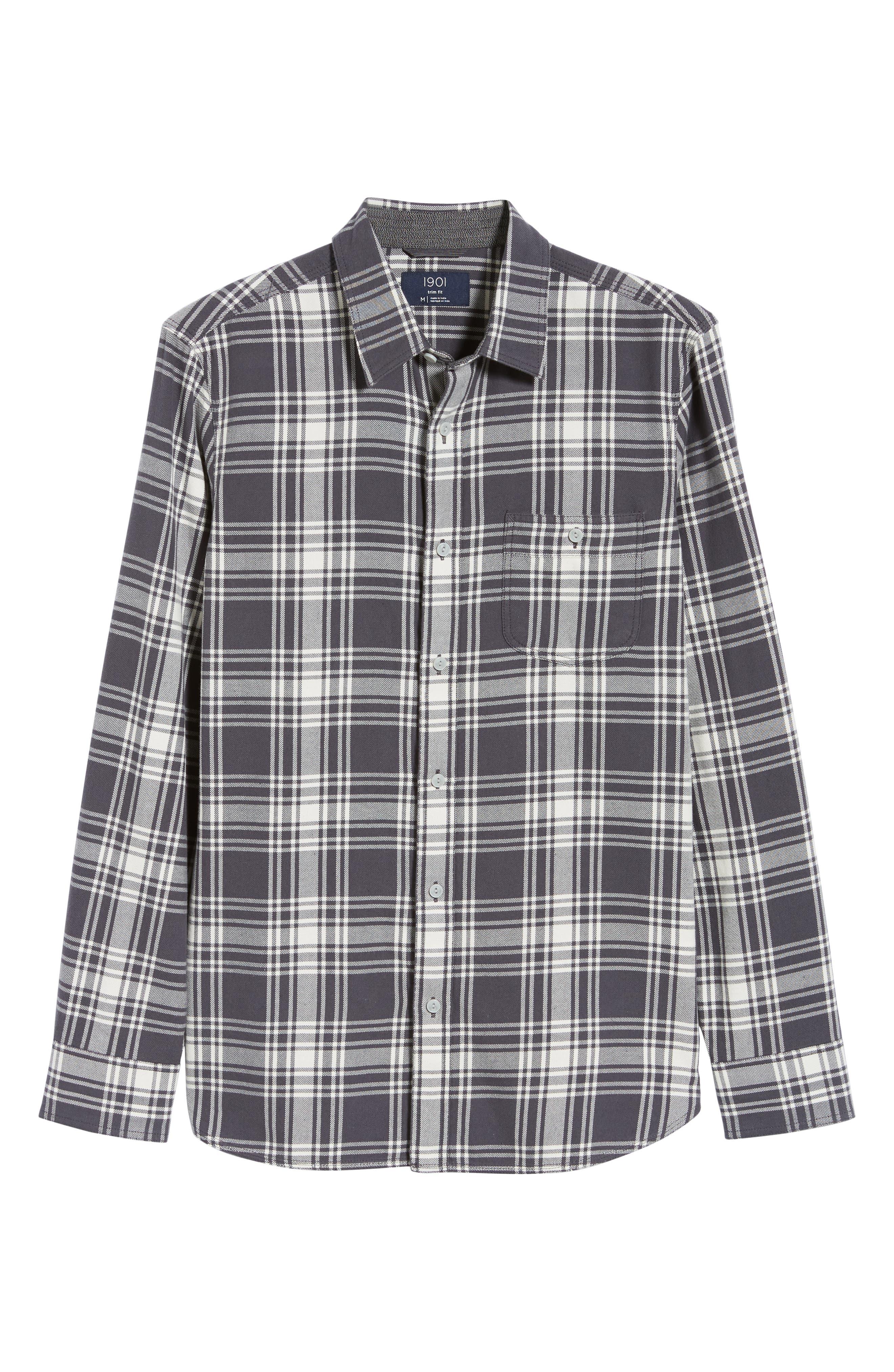 Plaid Utility Long Sleeve Trim Fit Sport Shirt,                             Alternate thumbnail 6, color,                             GREY CASTLEROCK PLAID