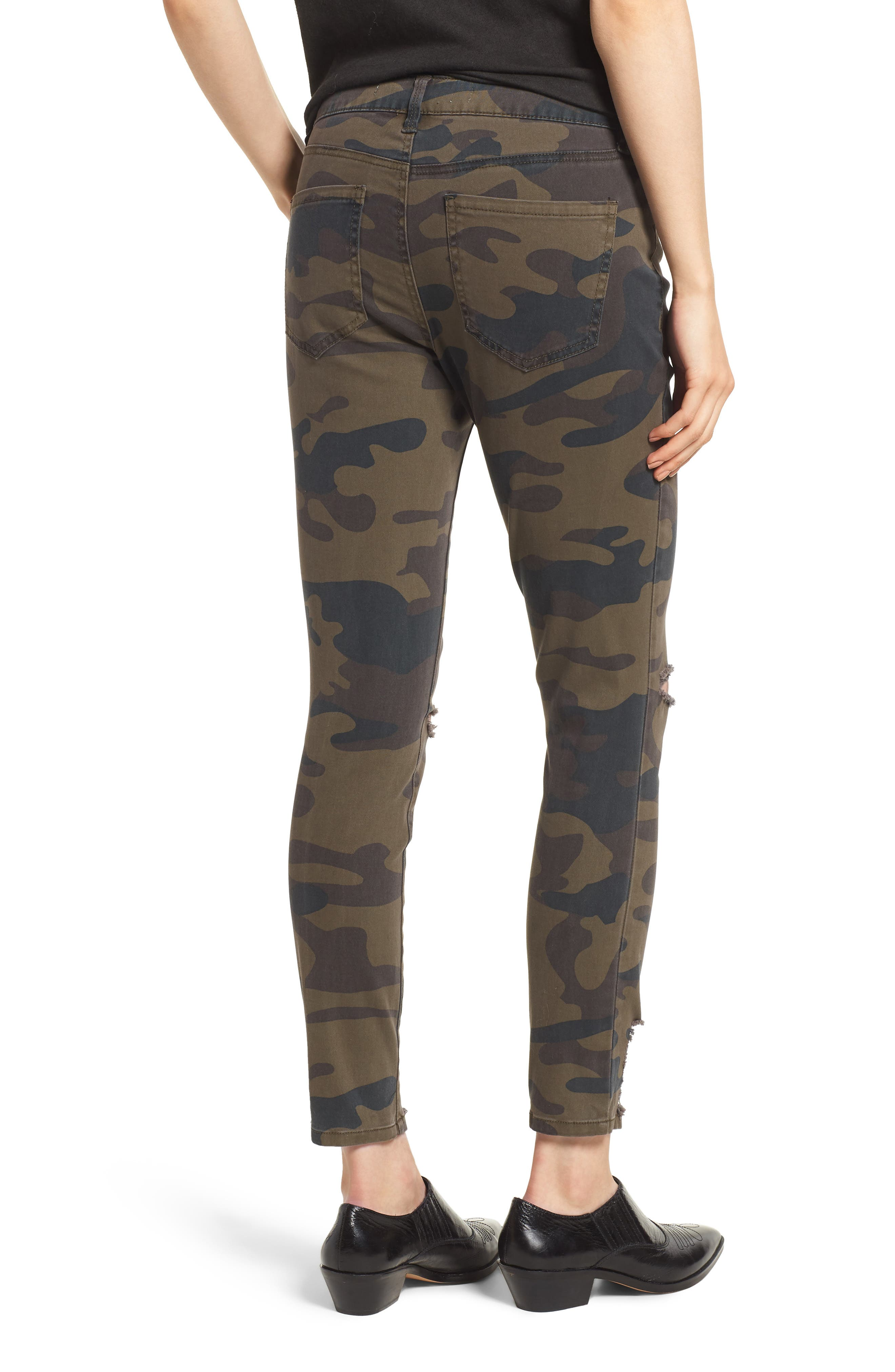 Ripped Camouflage Skinny Jeans,                             Alternate thumbnail 2, color,                             OLIVE COMBO