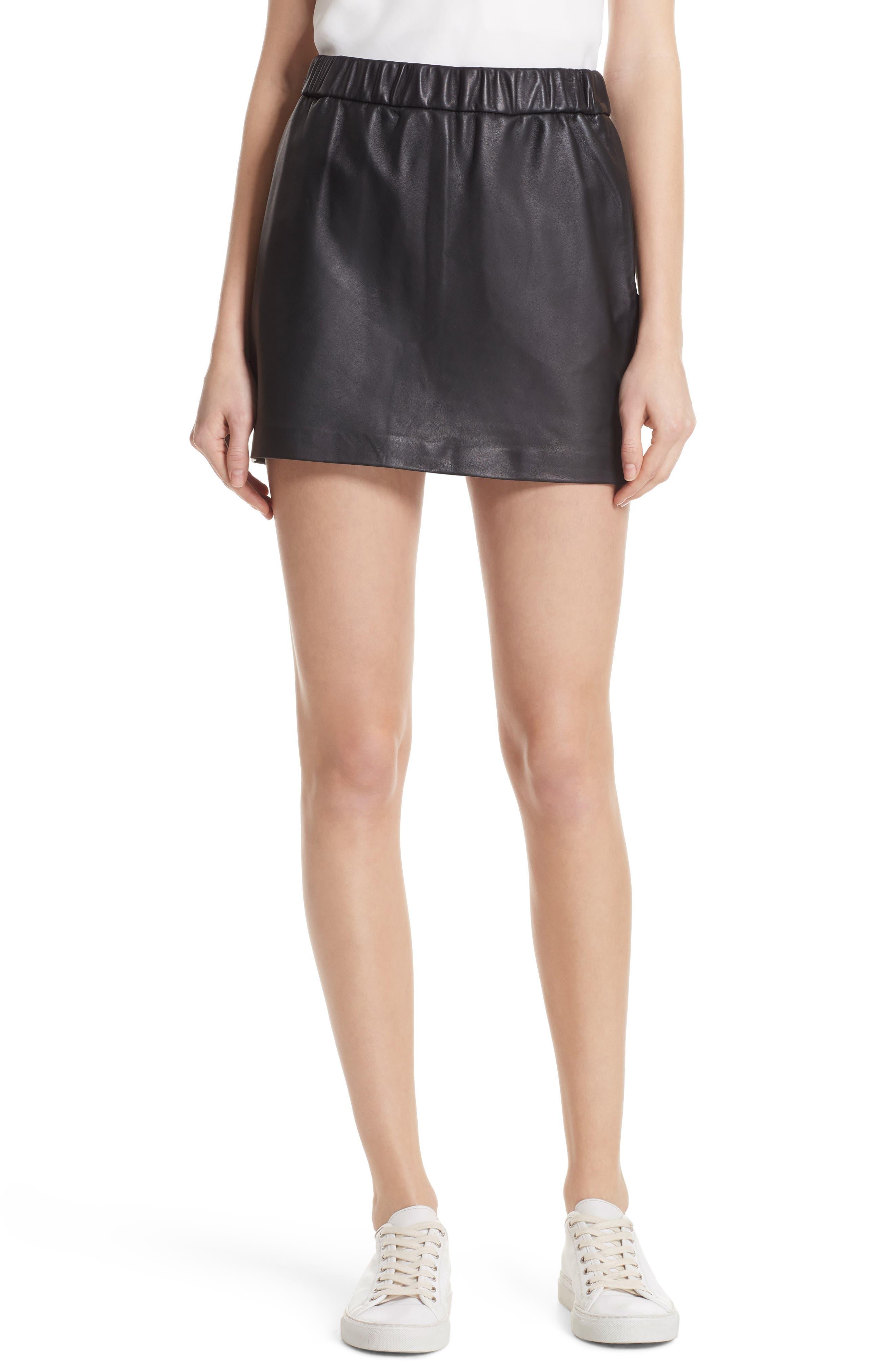 Pull-On Leather Miniskirt,                         Main,                         color, NOIR