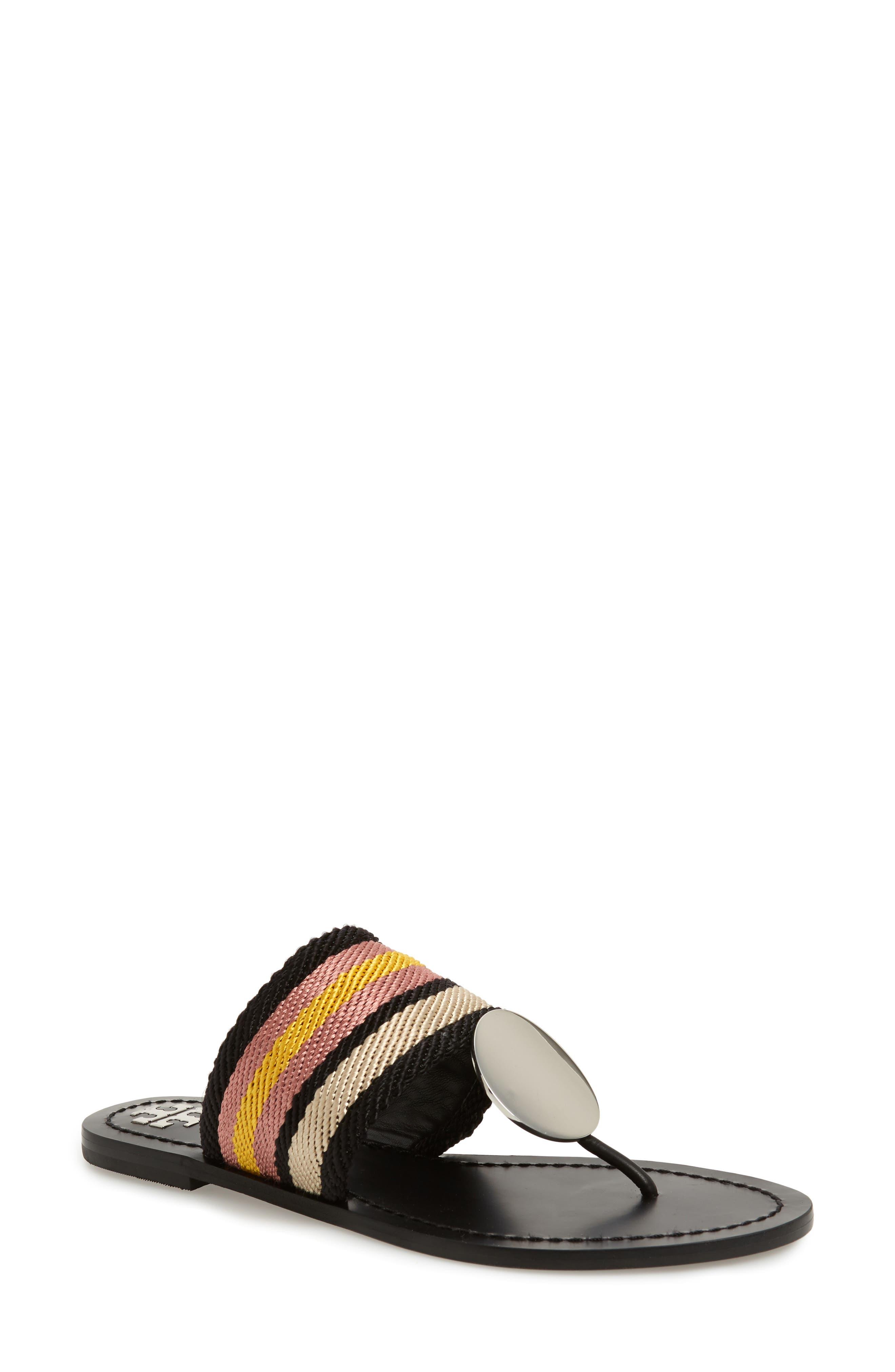 TORY BURCH Patos Sandal, Main, color, BLACK STRIPE/ PERFECT BLACK