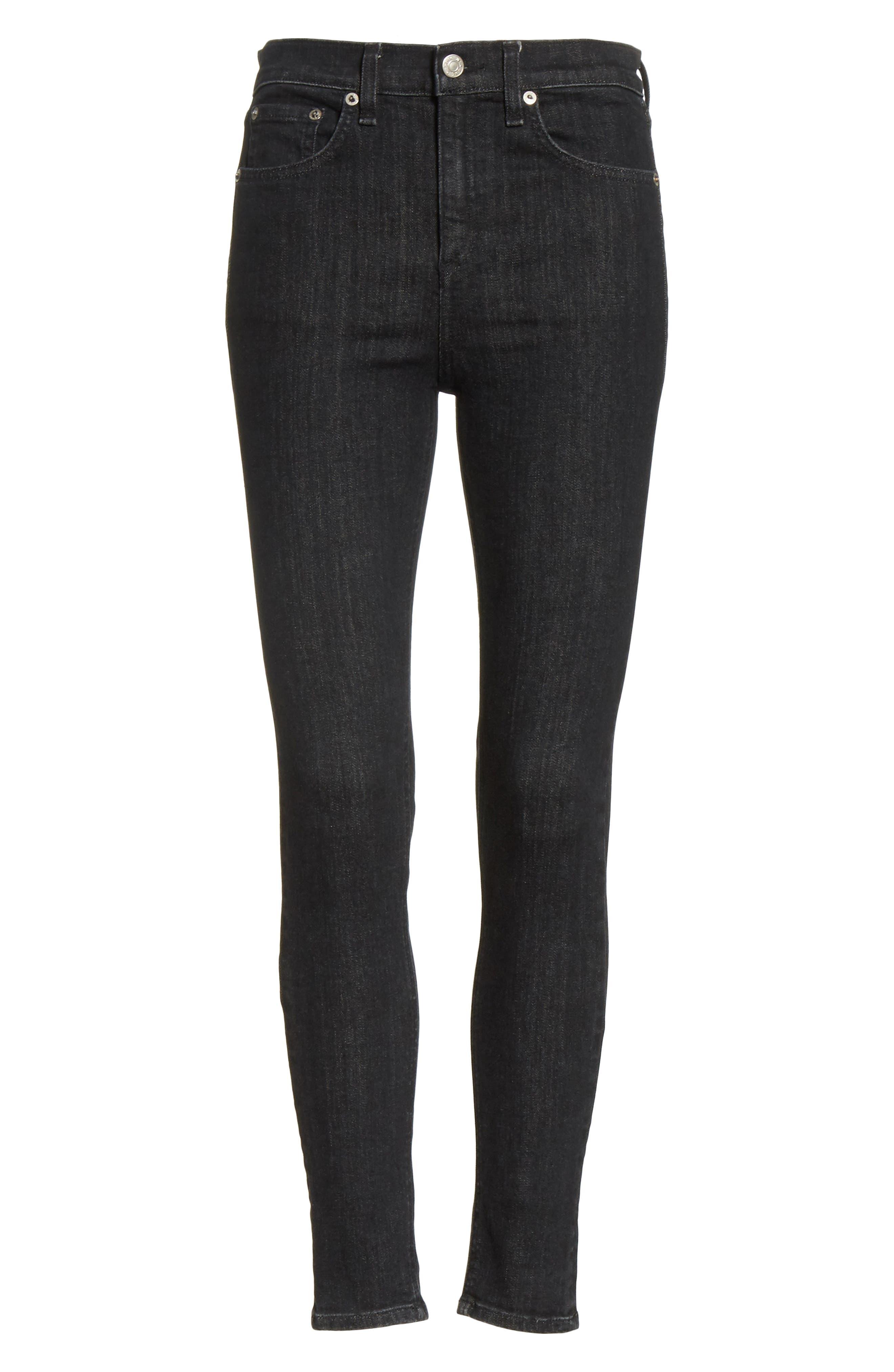 High Waist Ankle Skinny Jeans,                             Alternate thumbnail 6, color,                             002