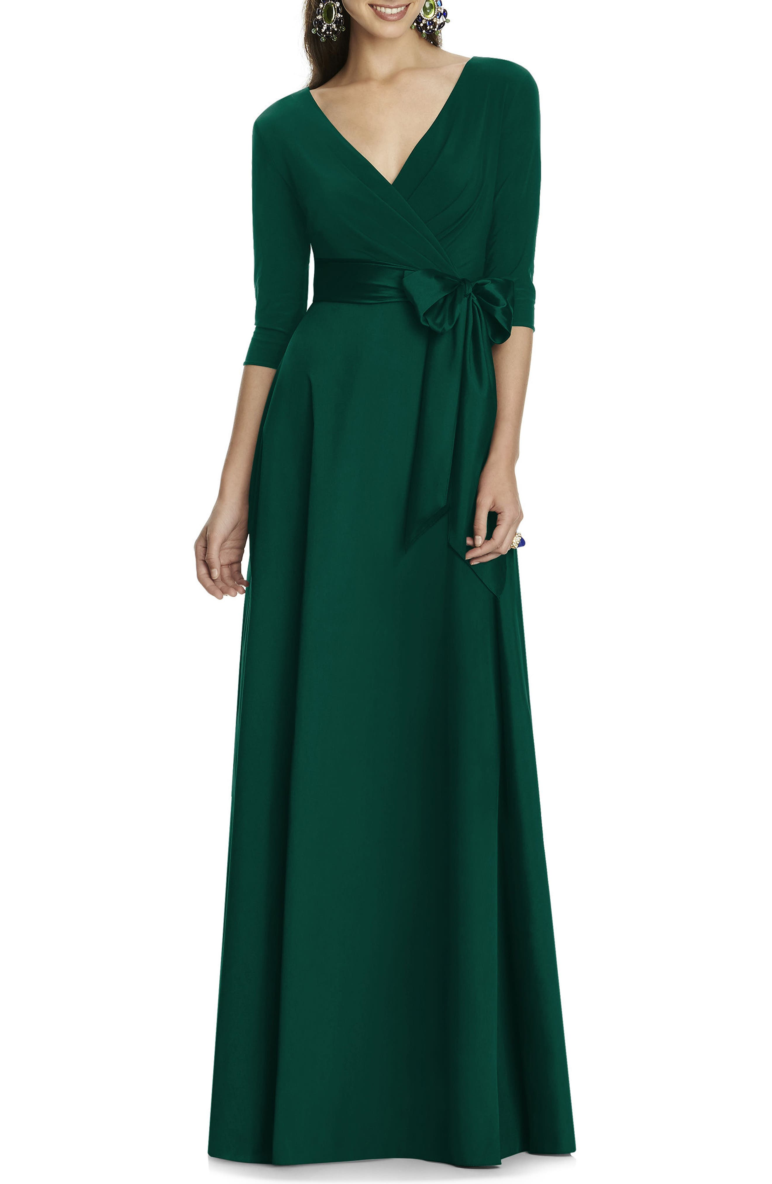 Alfred Sung Jersey Bodice A-Line Gown, Green