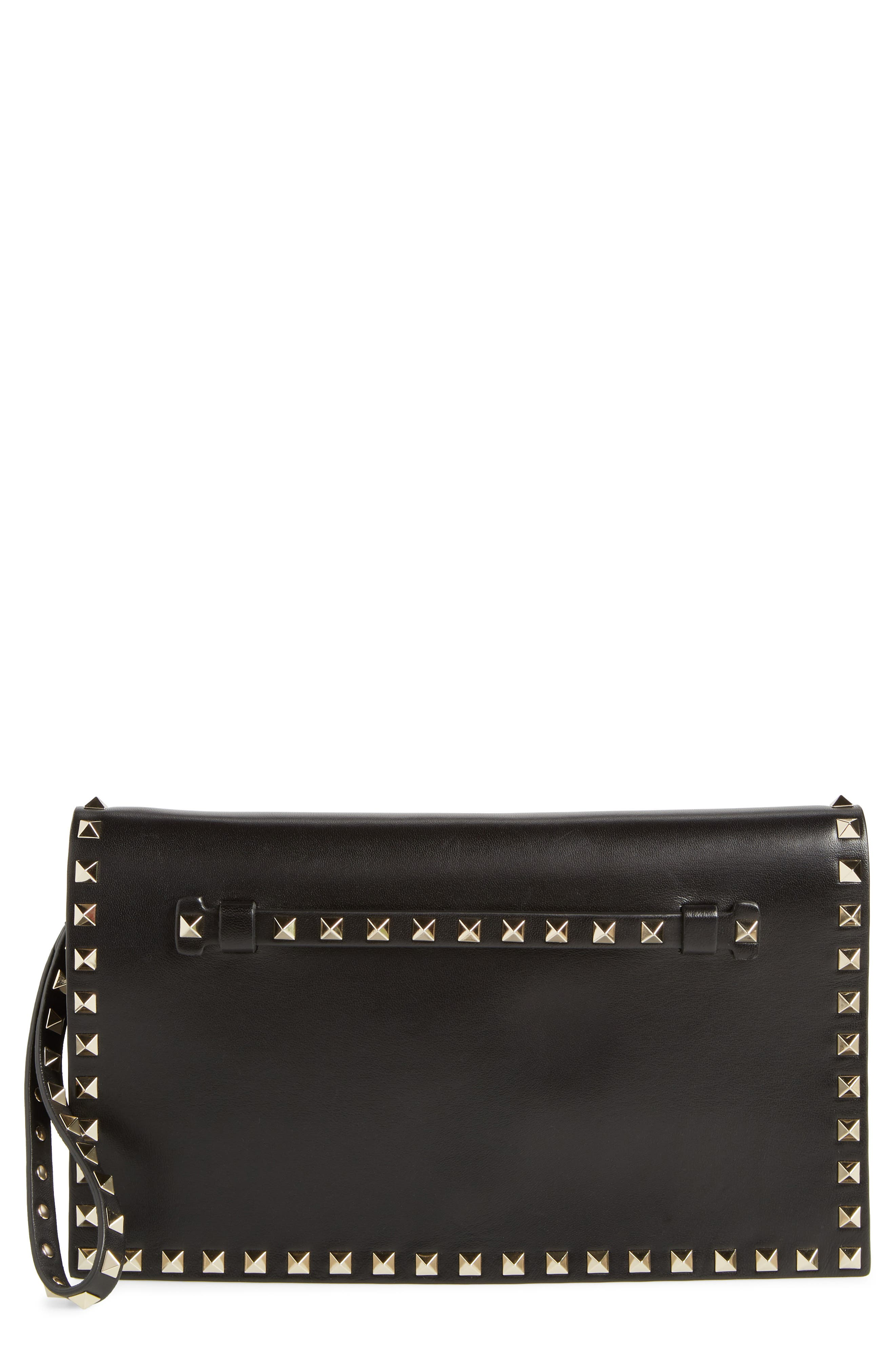 Rockstud Calfskin Leather Clutch - Black
