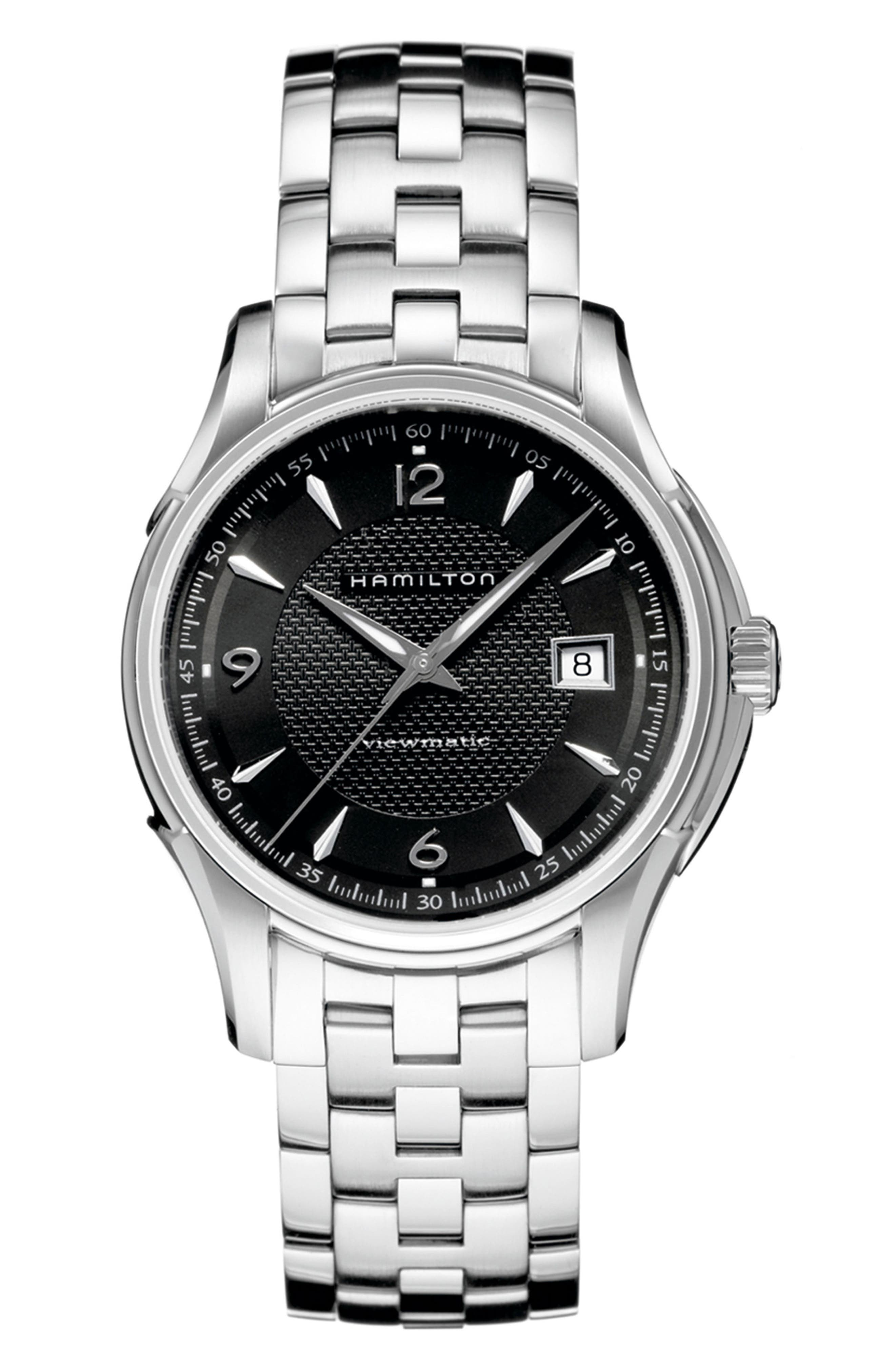 Jazzmaster Viewmatic Auto Bracelet Watch, 40mm,                         Main,                         color, SILVER/ BLACK/ SILVER