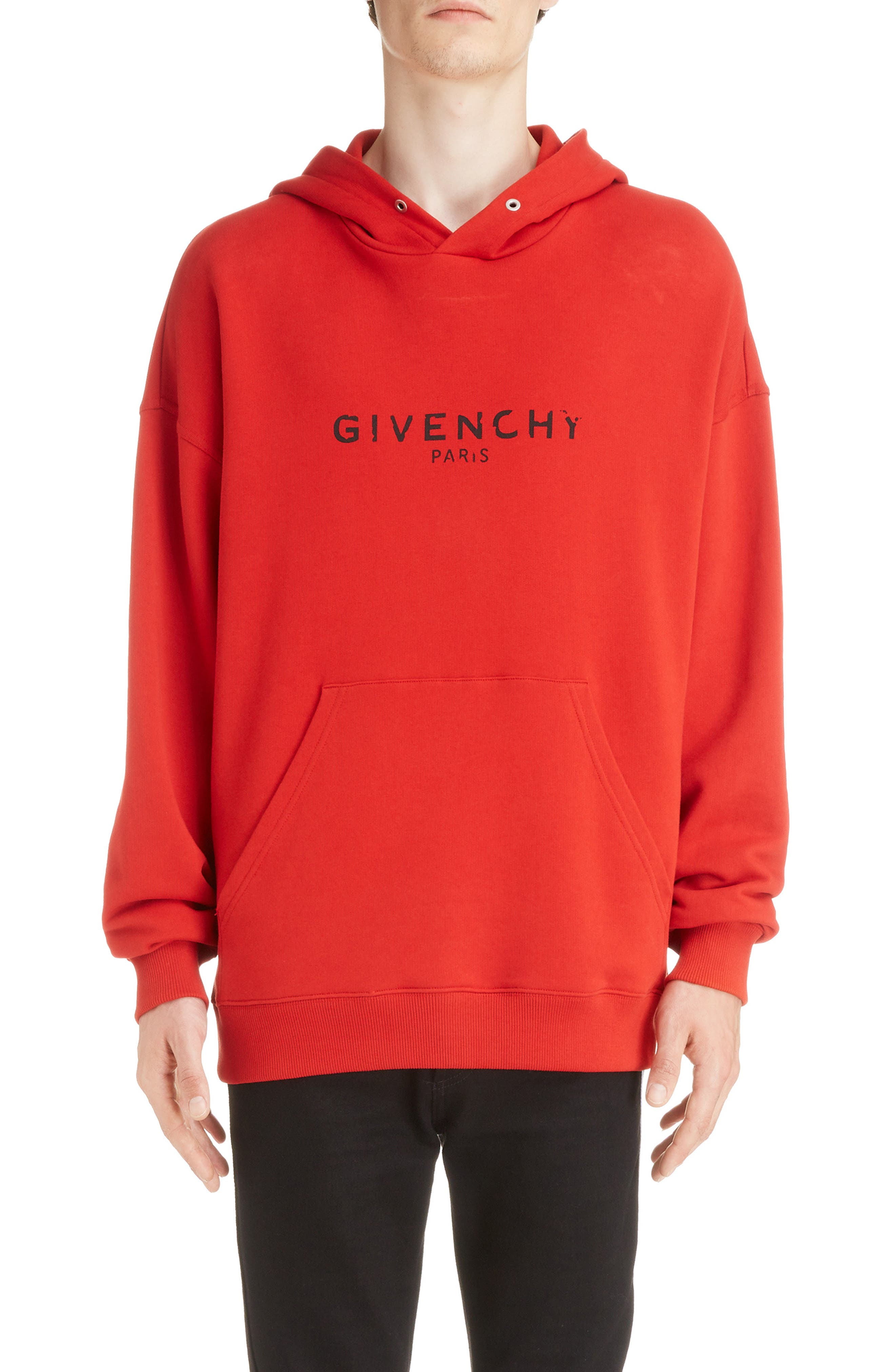 Logo Hoodie,                         Main,                         color, BRIGHT RED
