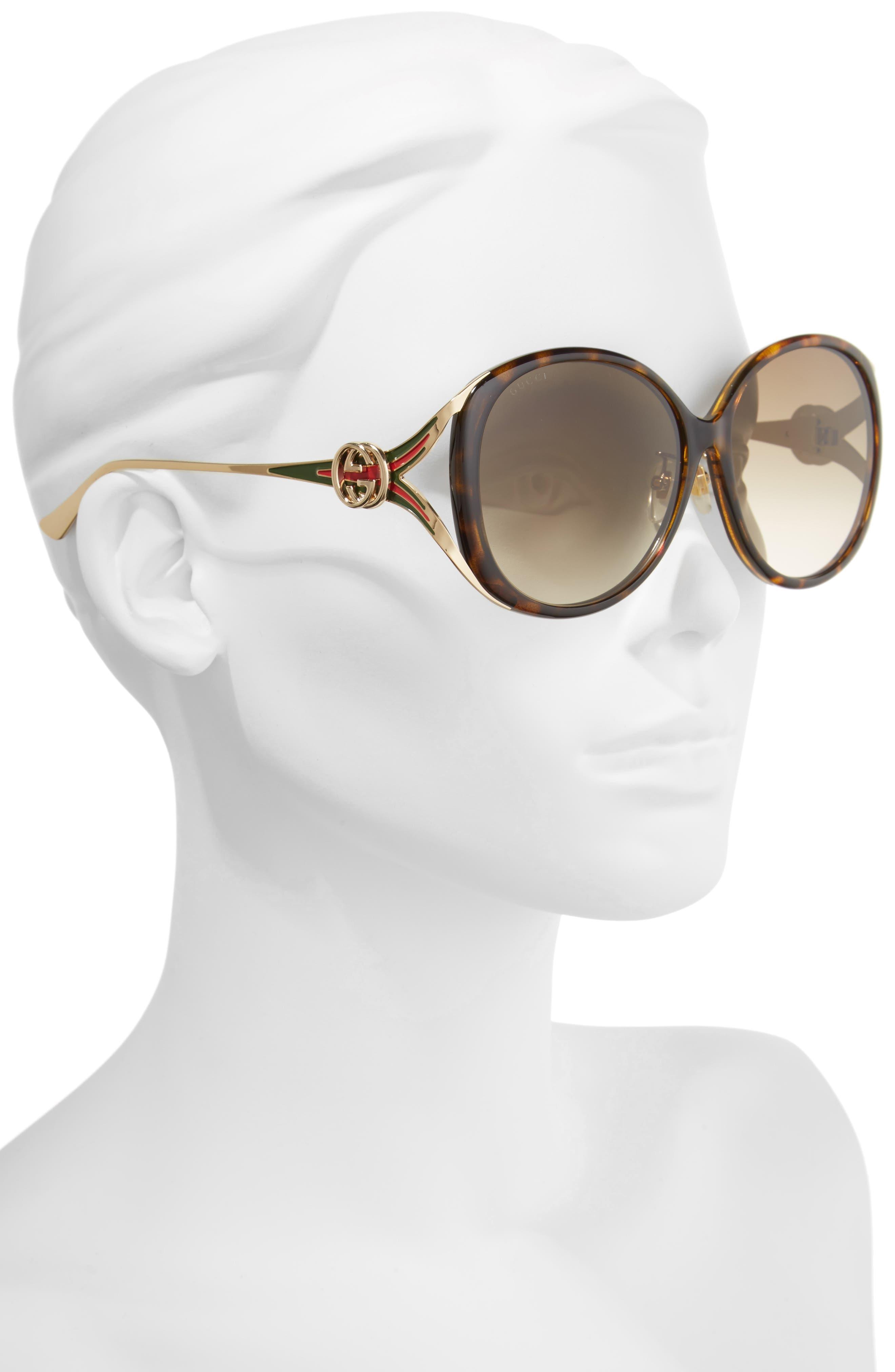 60mm Round Sunglasses,                             Alternate thumbnail 2, color,                             HAVANA