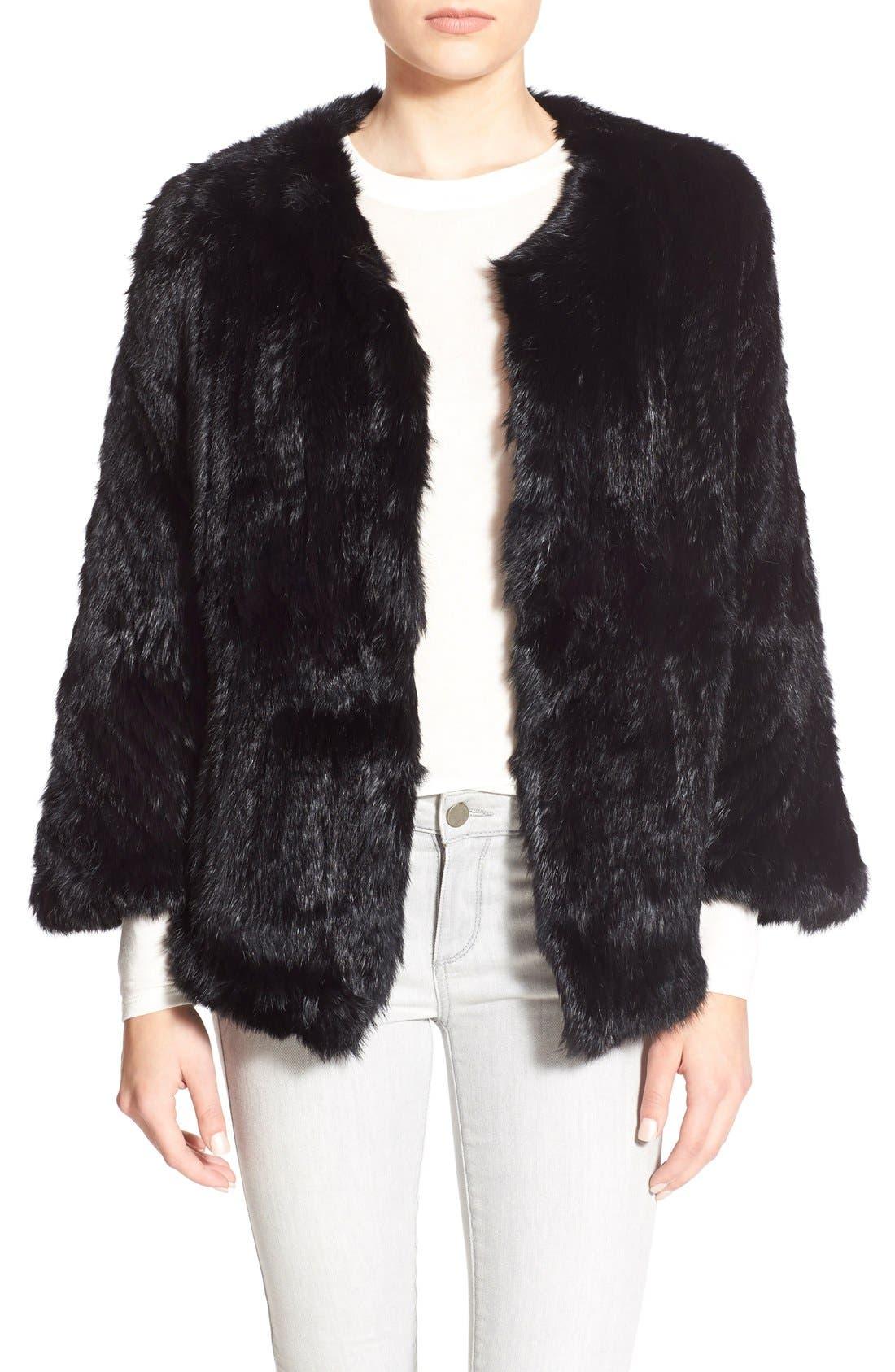 Genuine Rabbit Fur Cape, Main, color, 001