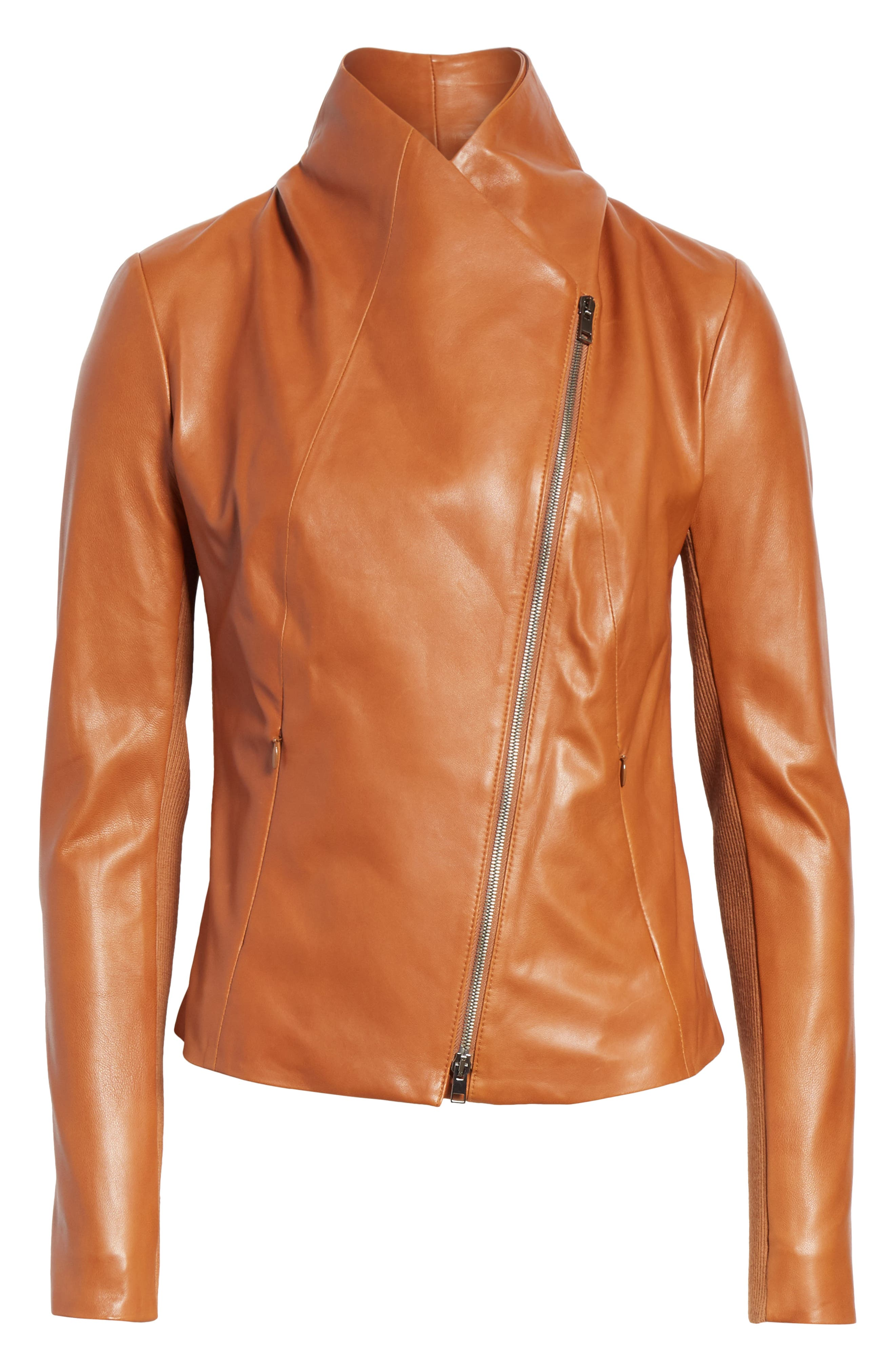 Stand Collar Leather Jacket,                             Alternate thumbnail 6, color,                             RUST BISQUE