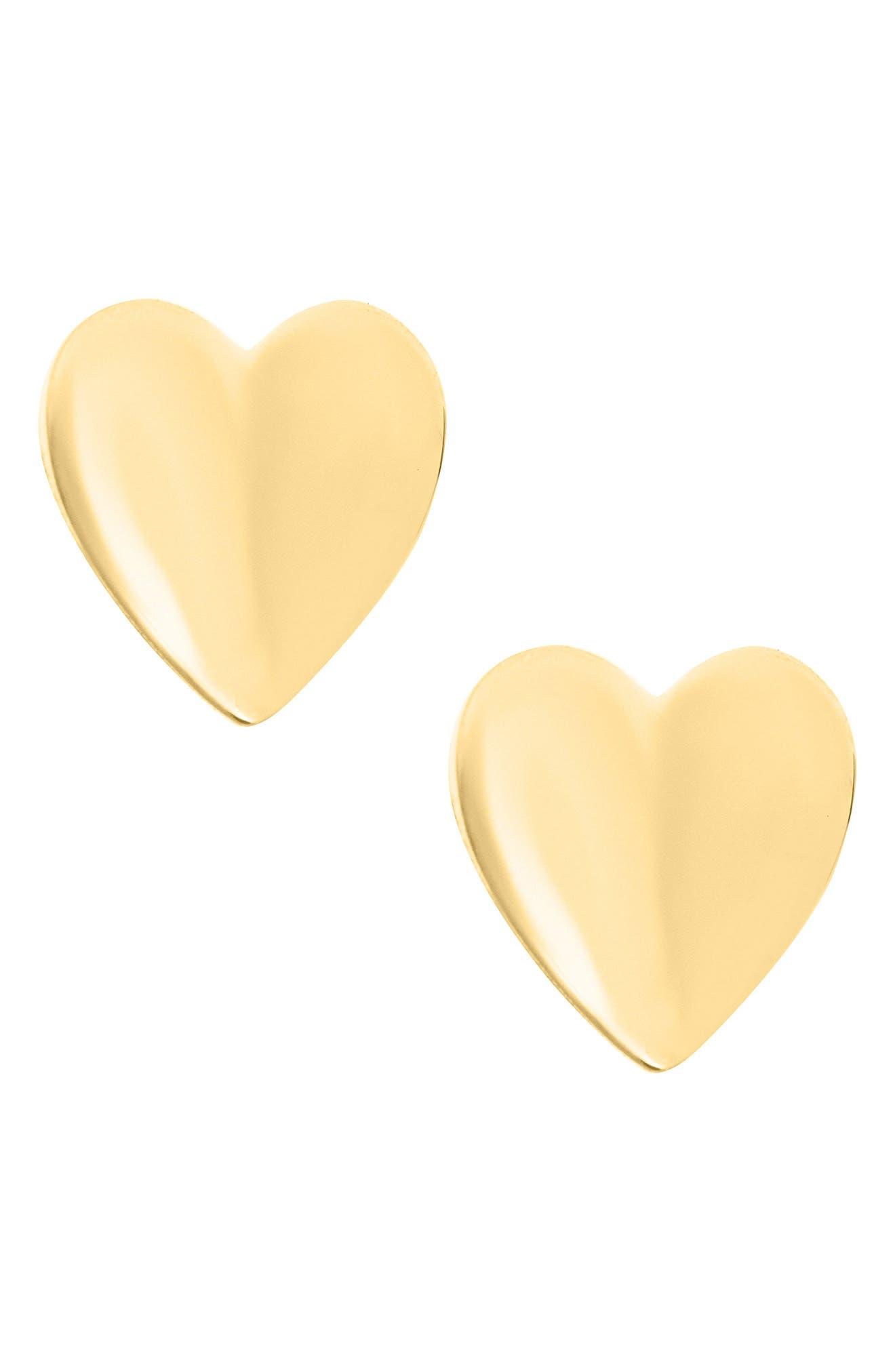 MIGNONETTE,                             14k Gold Heart Earrings,                             Main thumbnail 1, color,                             GOLD