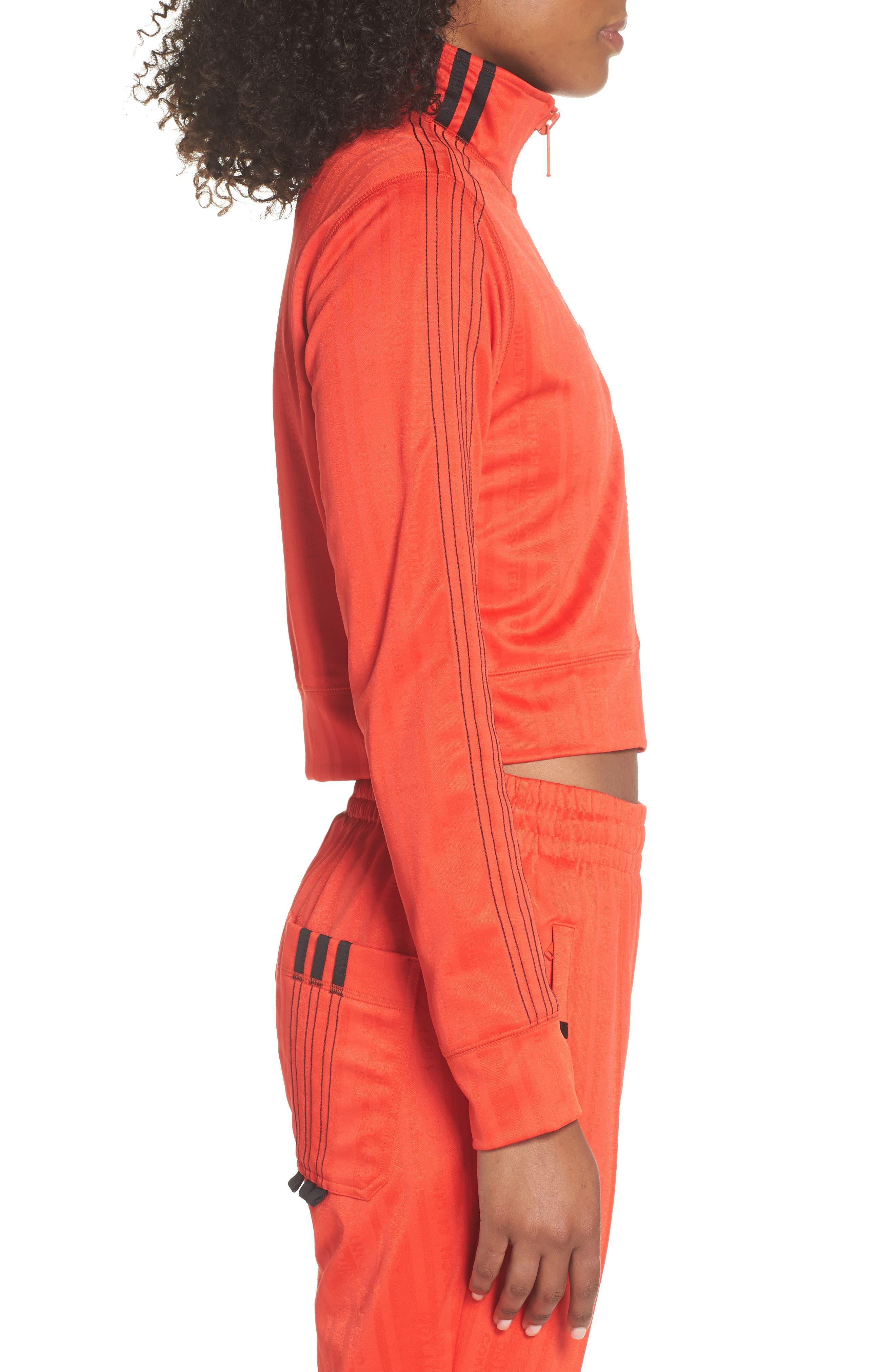 Crop Track Jacket,                             Alternate thumbnail 3, color,                             CORE RED/ BLACK