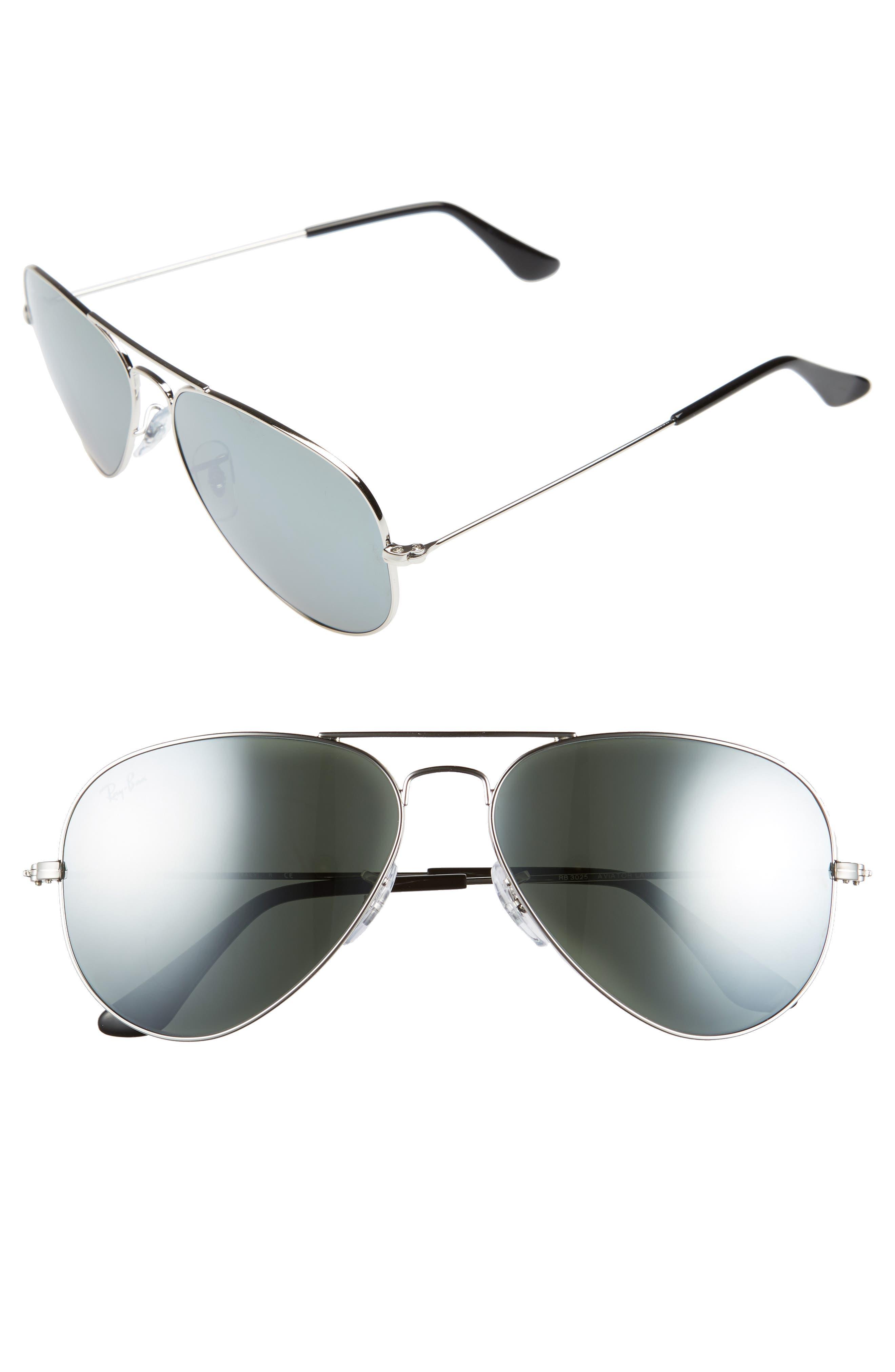 Original Aviator 58mm Sunglasses, Main, color, SILVER/ GREY MIRROR