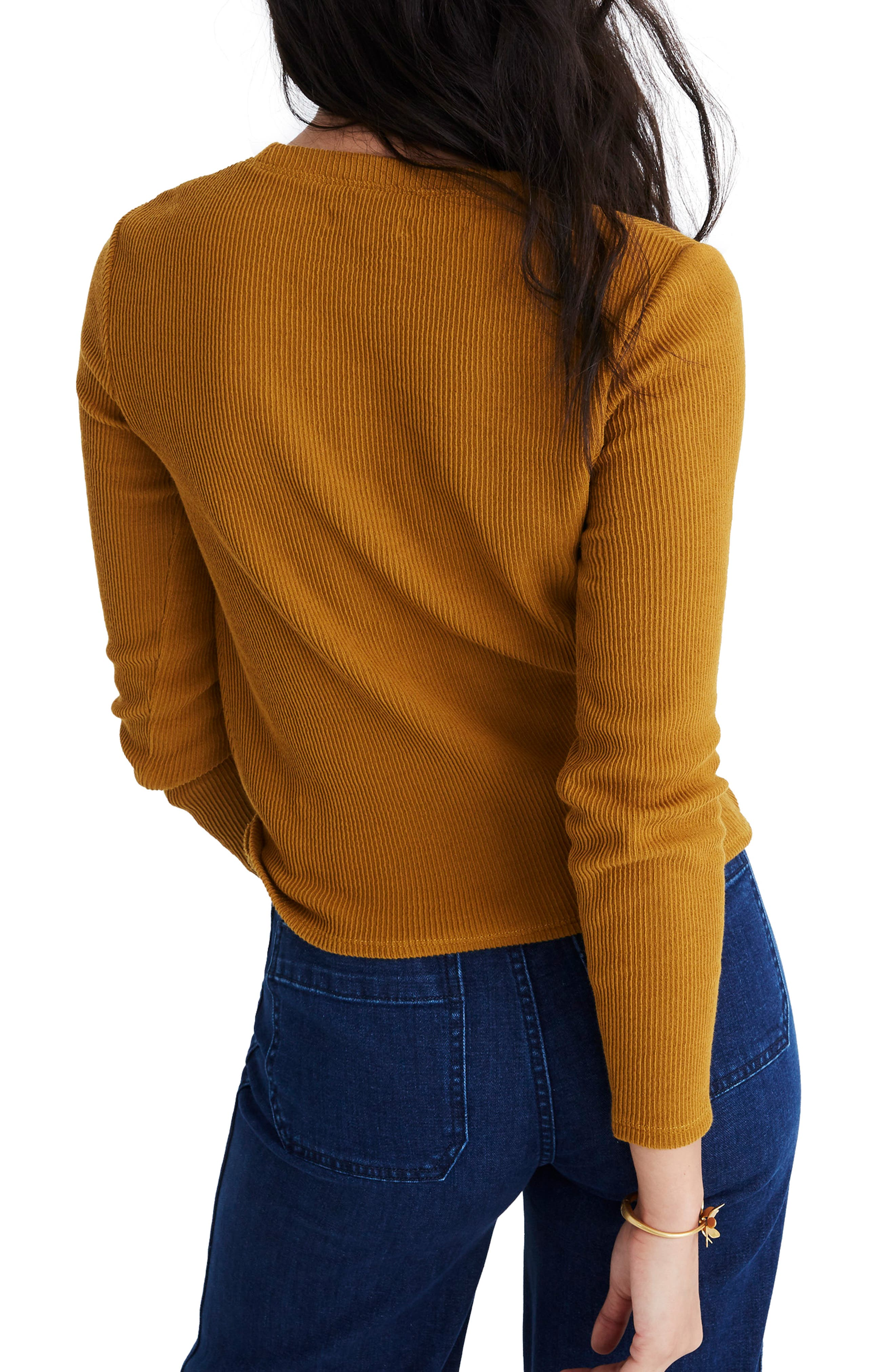 MADEWELL,                             Texture & Thread Front Knot Jacquard Top,                             Alternate thumbnail 2, color,                             EGYPTIAN GOLD