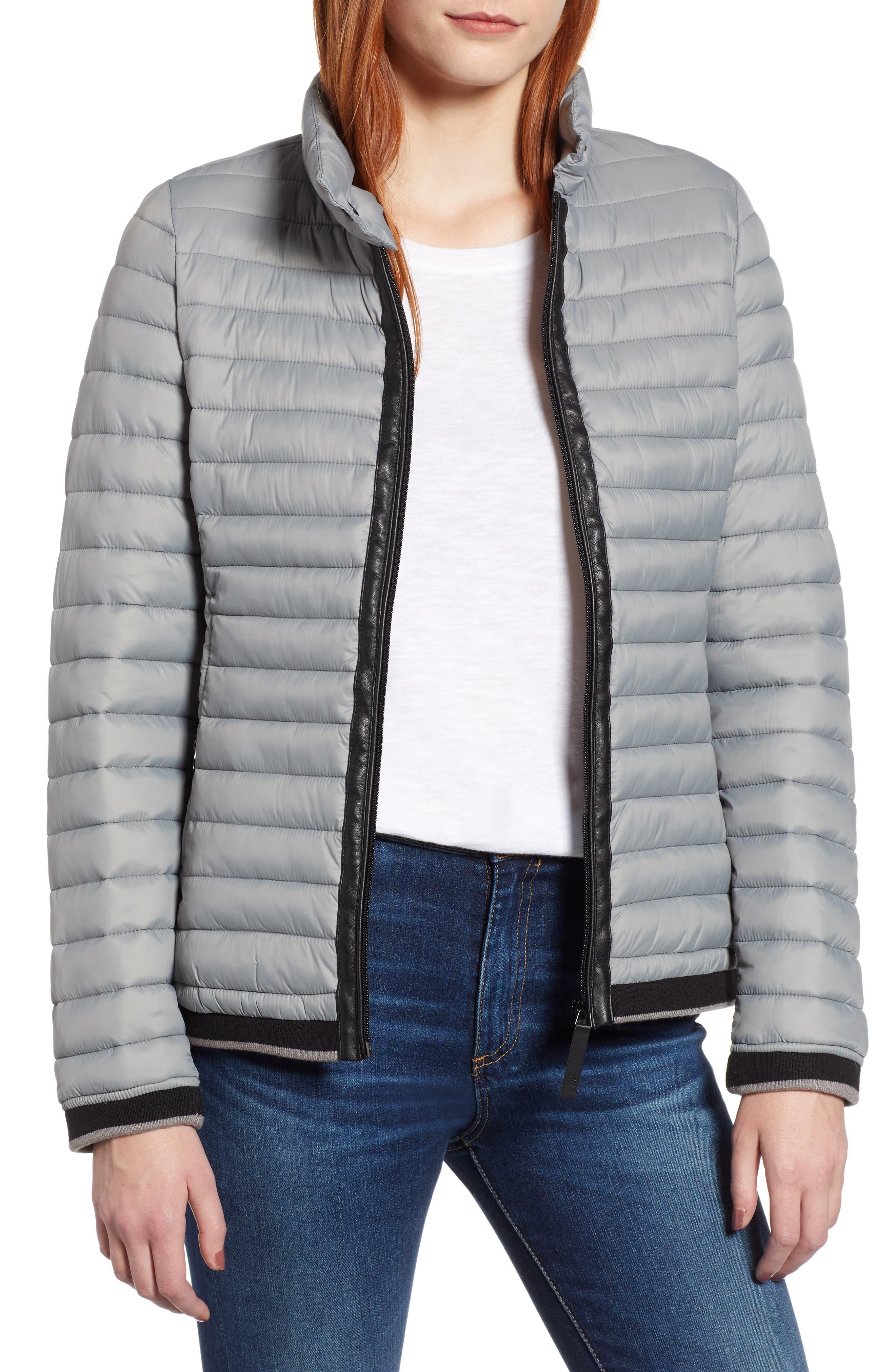 Stripe Trim Packable Down Jacket,                         Main,                         color, STERLING