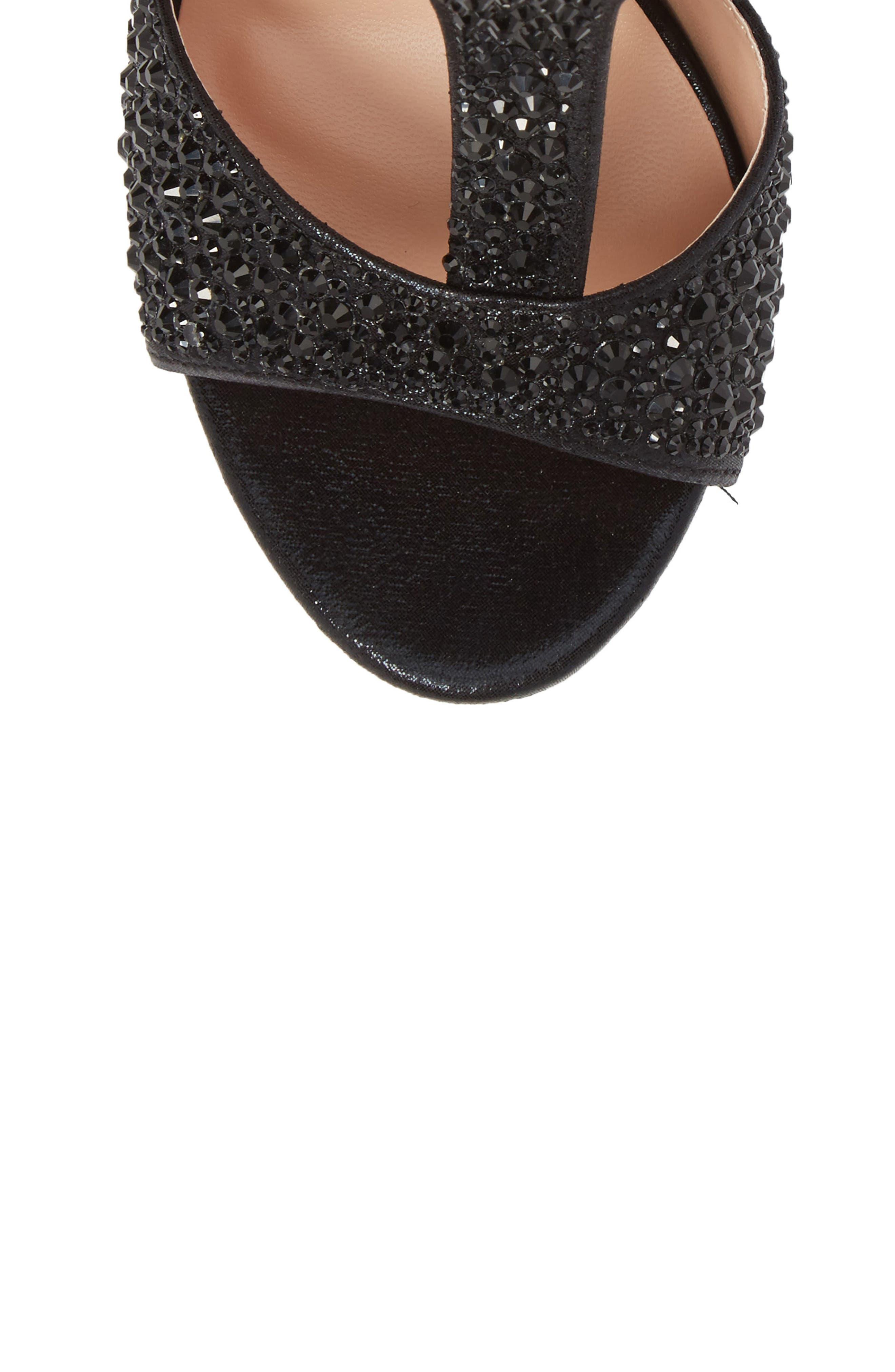 Ina Crystal Embellished Sandal,                             Alternate thumbnail 5, color,                             BLACK