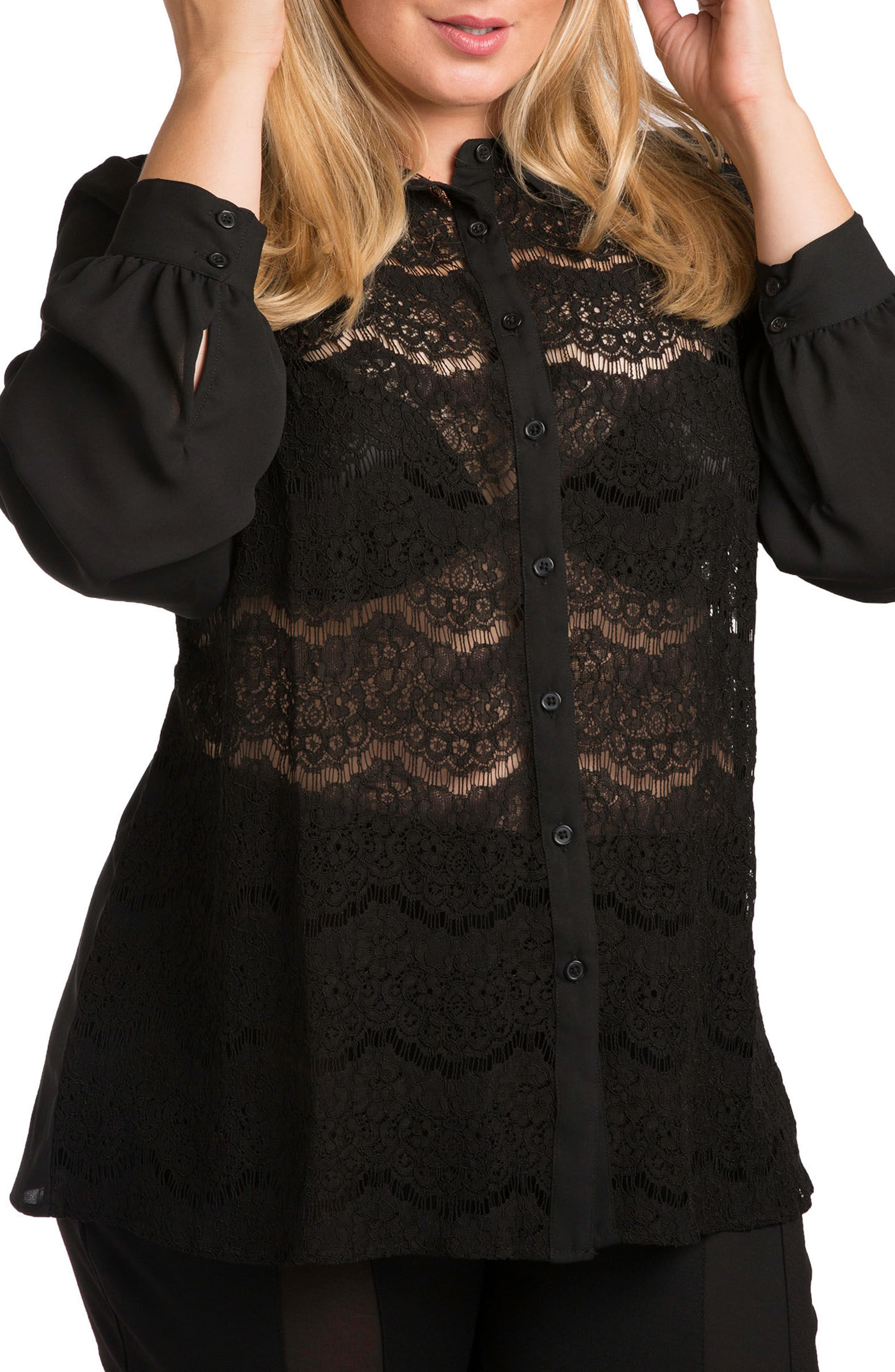 Coco Lace Front Shirt,                             Main thumbnail 1, color,                             BLACK
