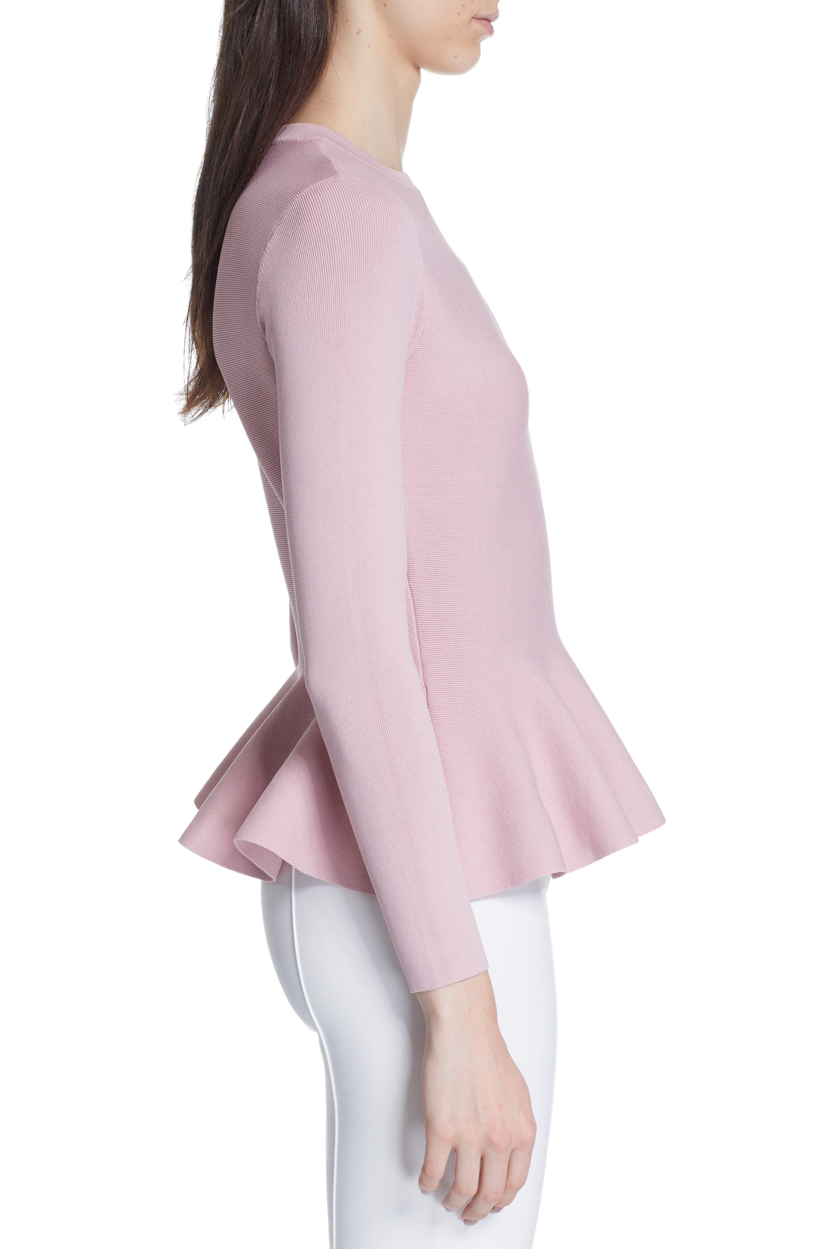 Hinlia Peplum Sweater,                             Alternate thumbnail 3, color,                             DUSKY PINK