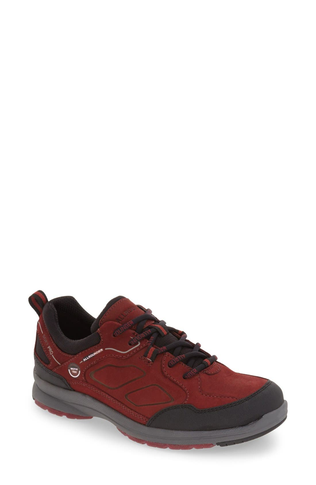 'Dascha Tex' Waterproof Sneaker,                             Main thumbnail 1, color,                             BLACK/ RED NUBUCK LEATHER