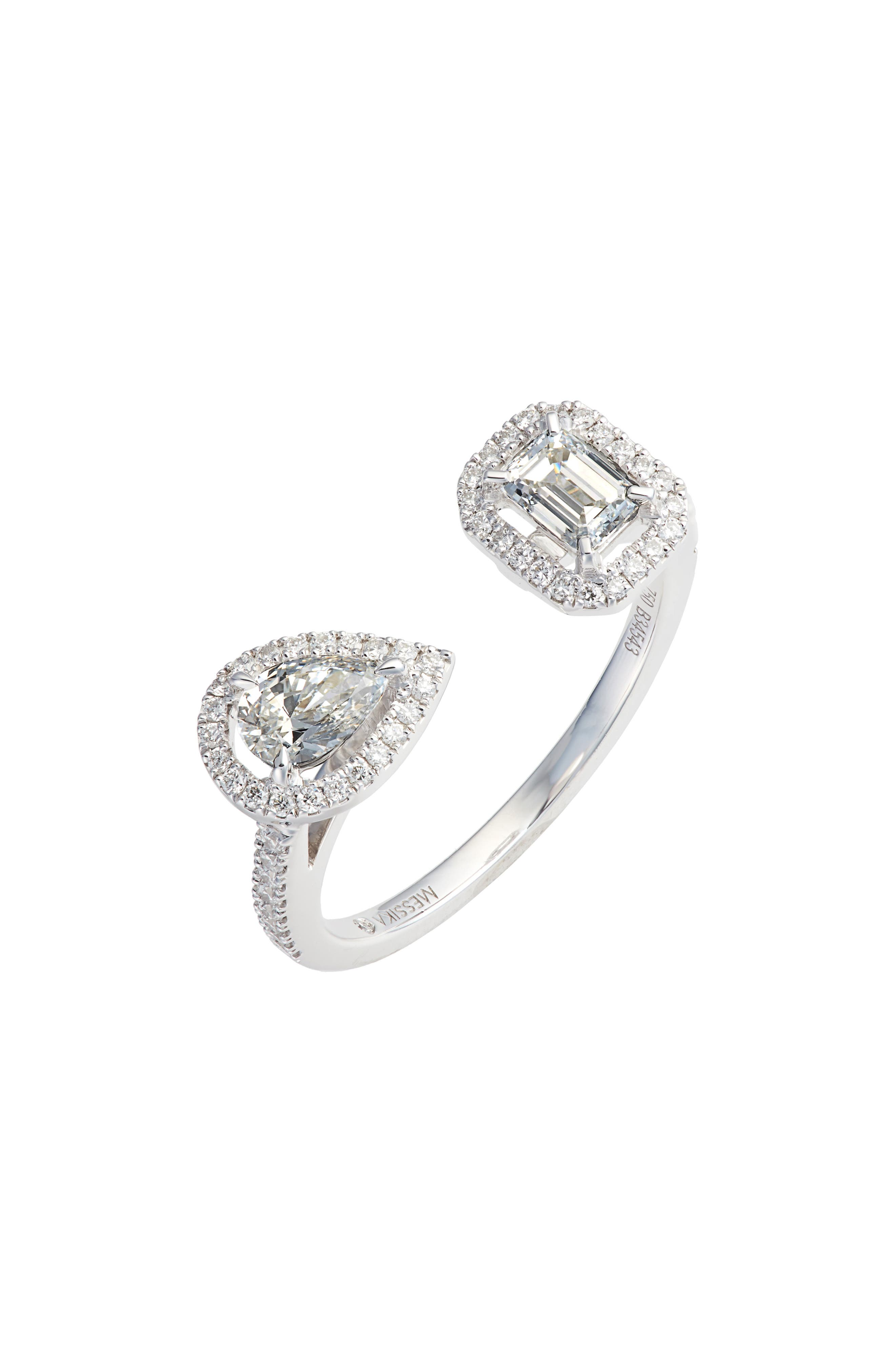 My Twin Diamond Ring,                             Main thumbnail 1, color,                             WHITE GOLD