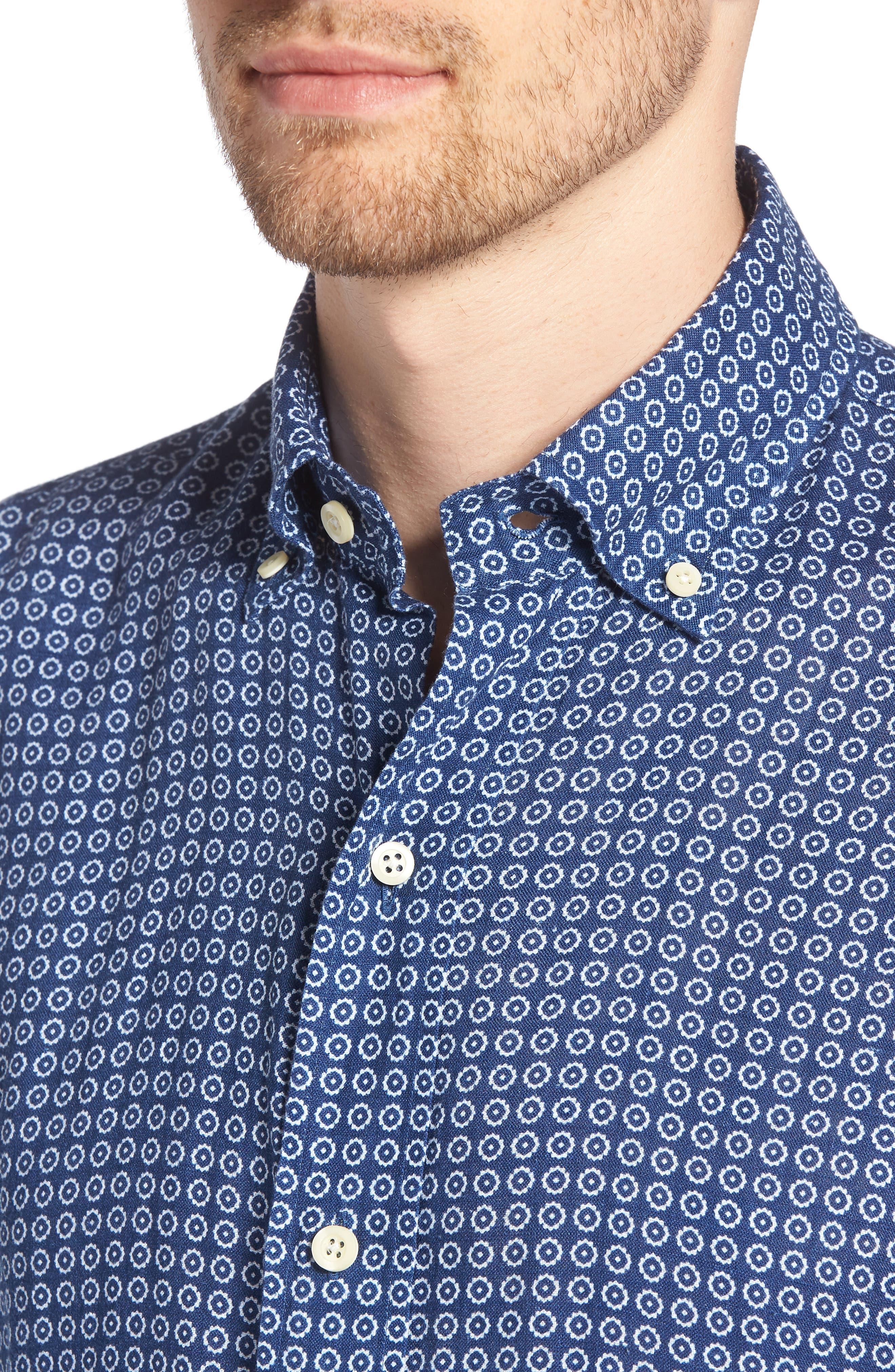 Windham Print Slim Fit Linen Sport Shirt,                             Alternate thumbnail 4, color,                             410