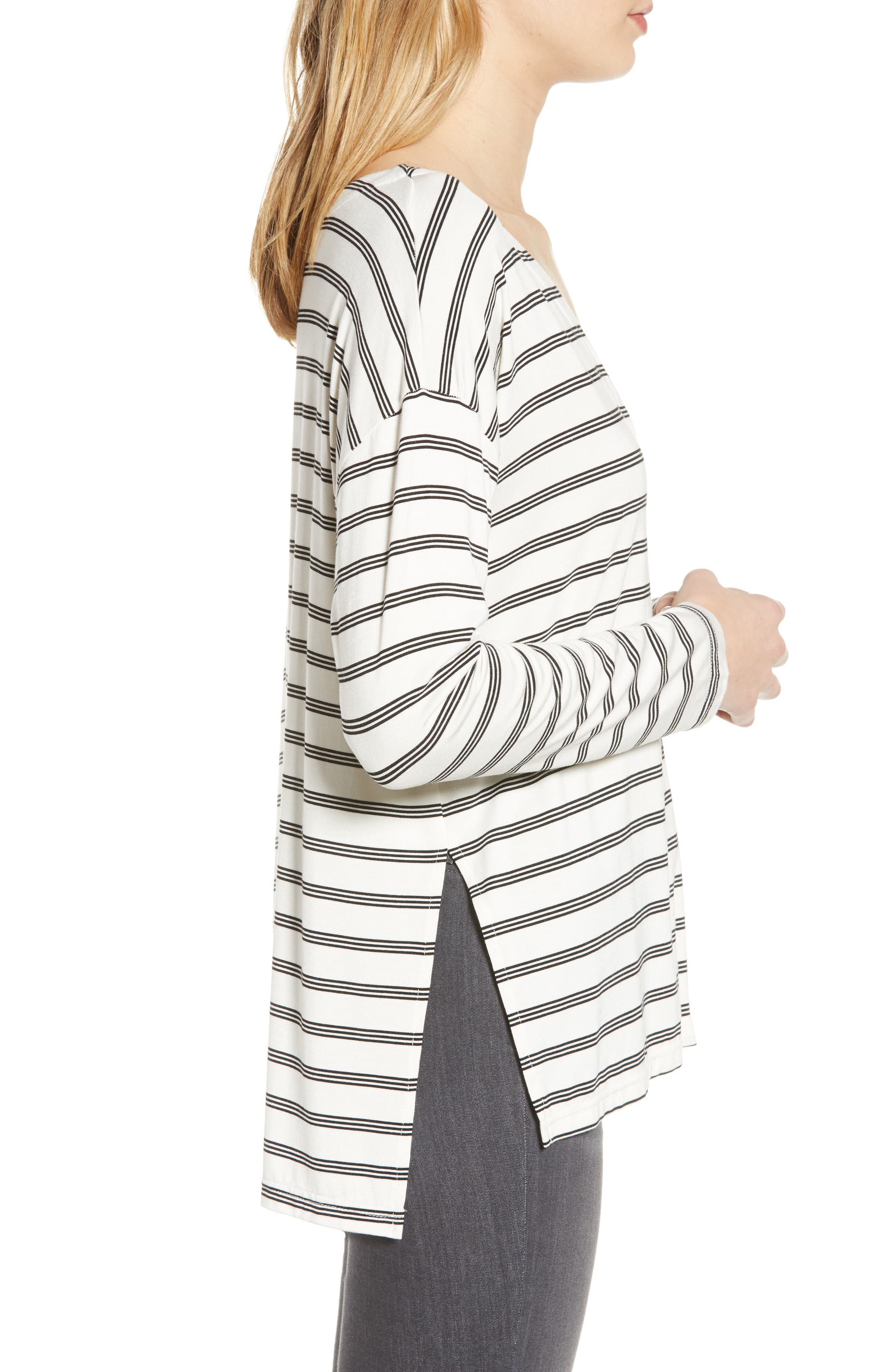 CUPCAKES AND CASHMERE,                             Roxanna Stripe Knit Top,                             Alternate thumbnail 3, color,                             IVORY