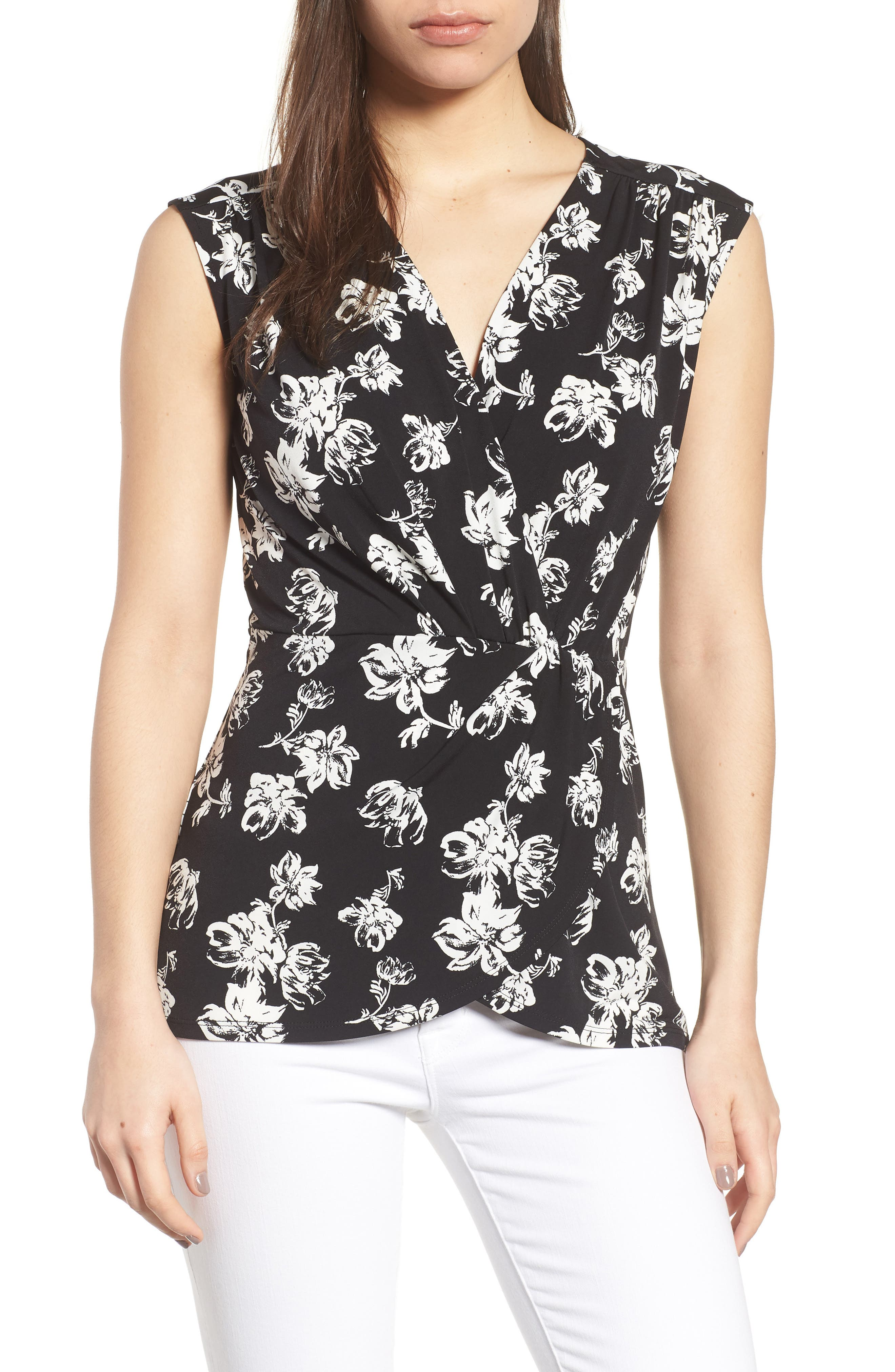 Floral Breeze Knot Front Top,                         Main,                         color, 001