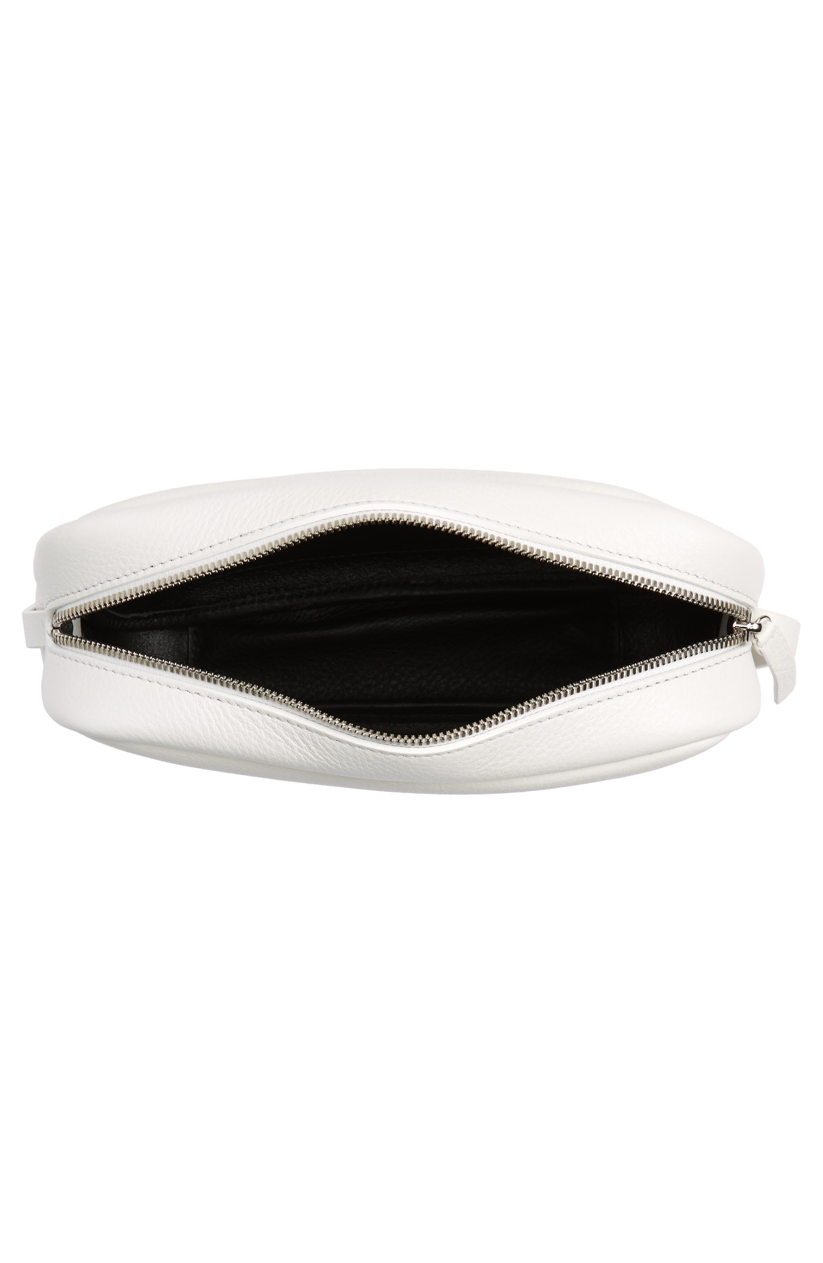 Small Everyday Calfskin Leather Camera Bag,                             Alternate thumbnail 4, color,                             BLANC OPTIQUE/ NOIR