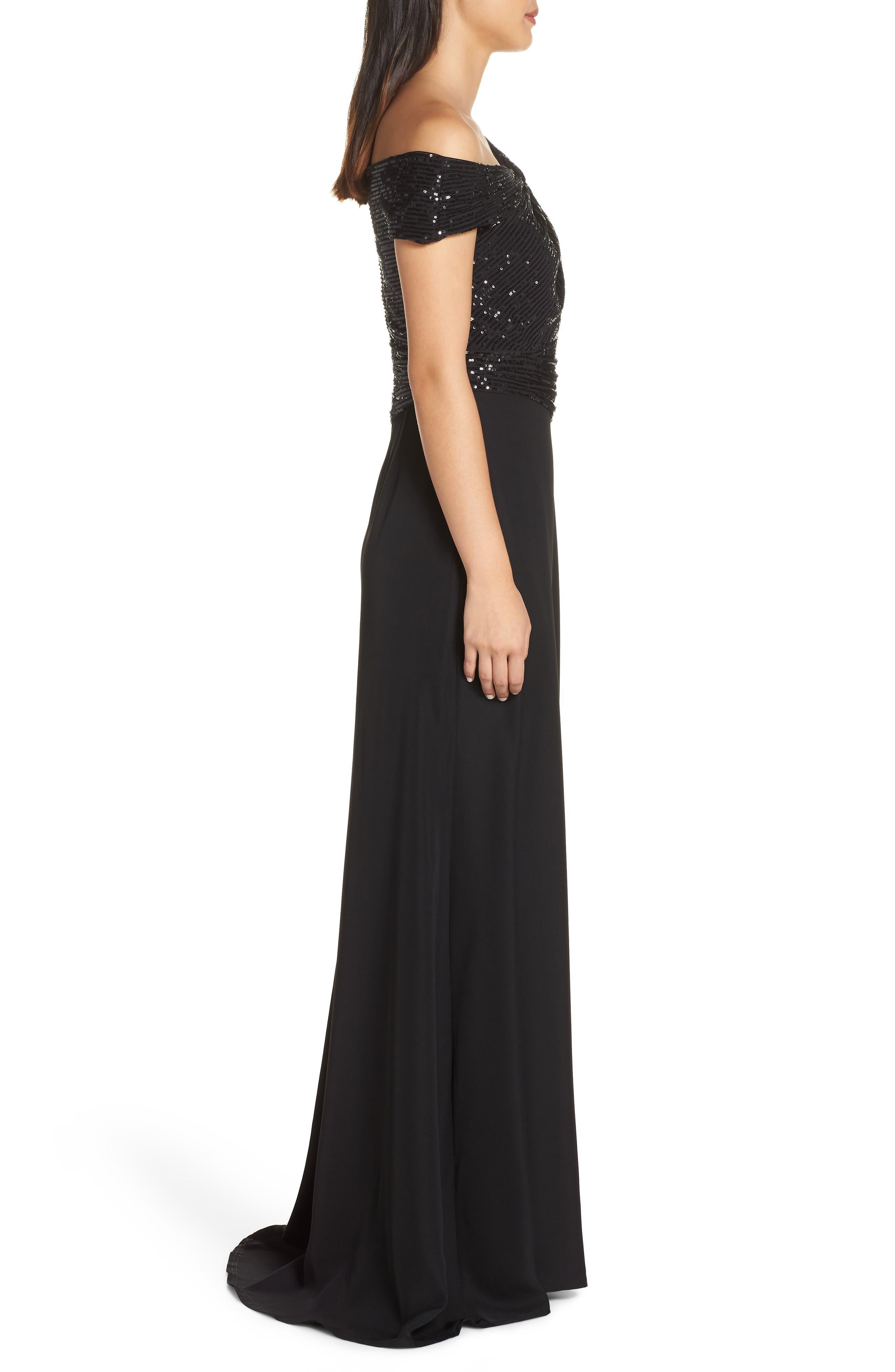 Off-Shoulder Sequin Bodice Gown,                             Alternate thumbnail 3, color,                             BLACK