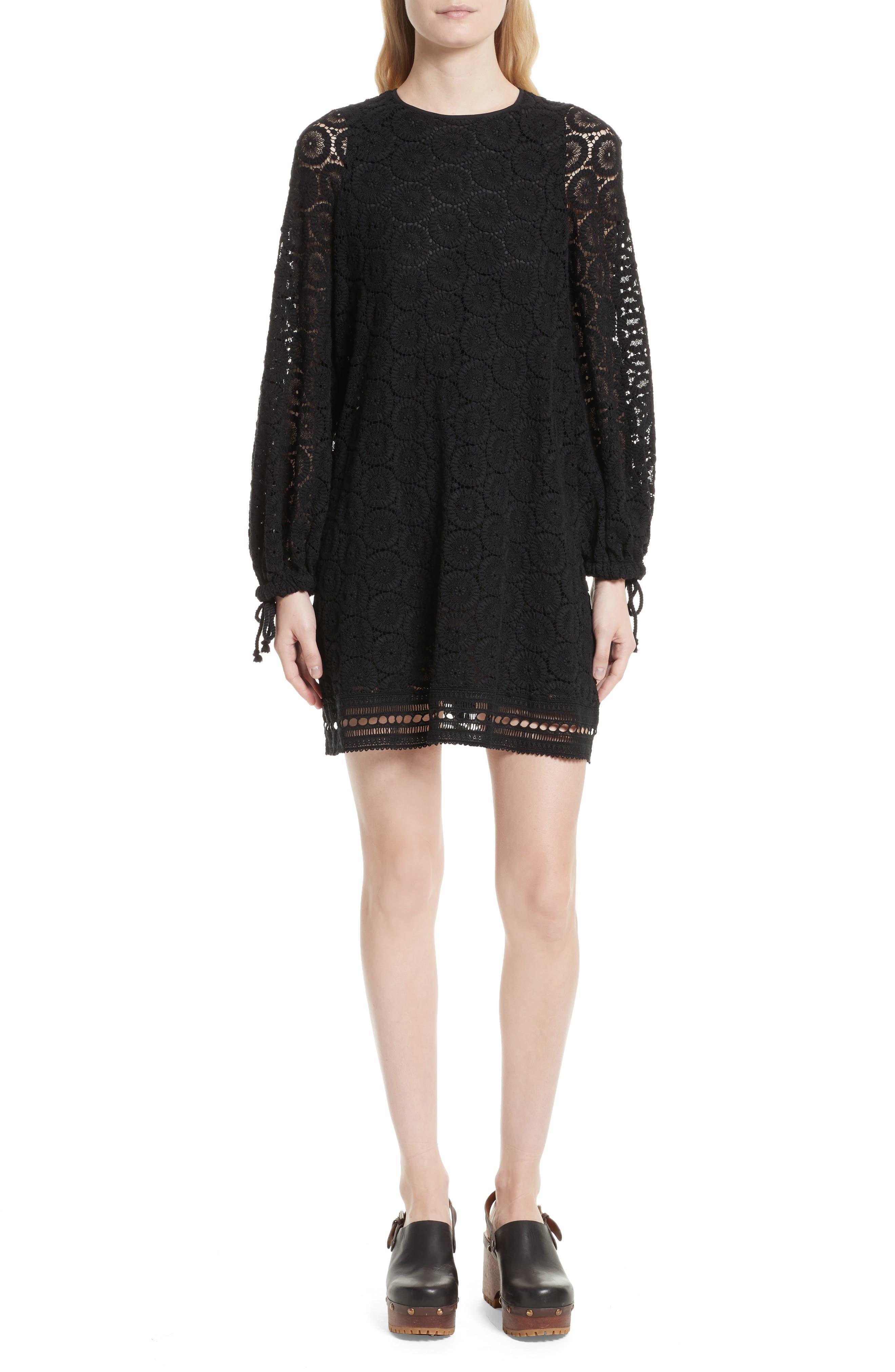 Cotton Crochet Shift Dress,                         Main,                         color, 001