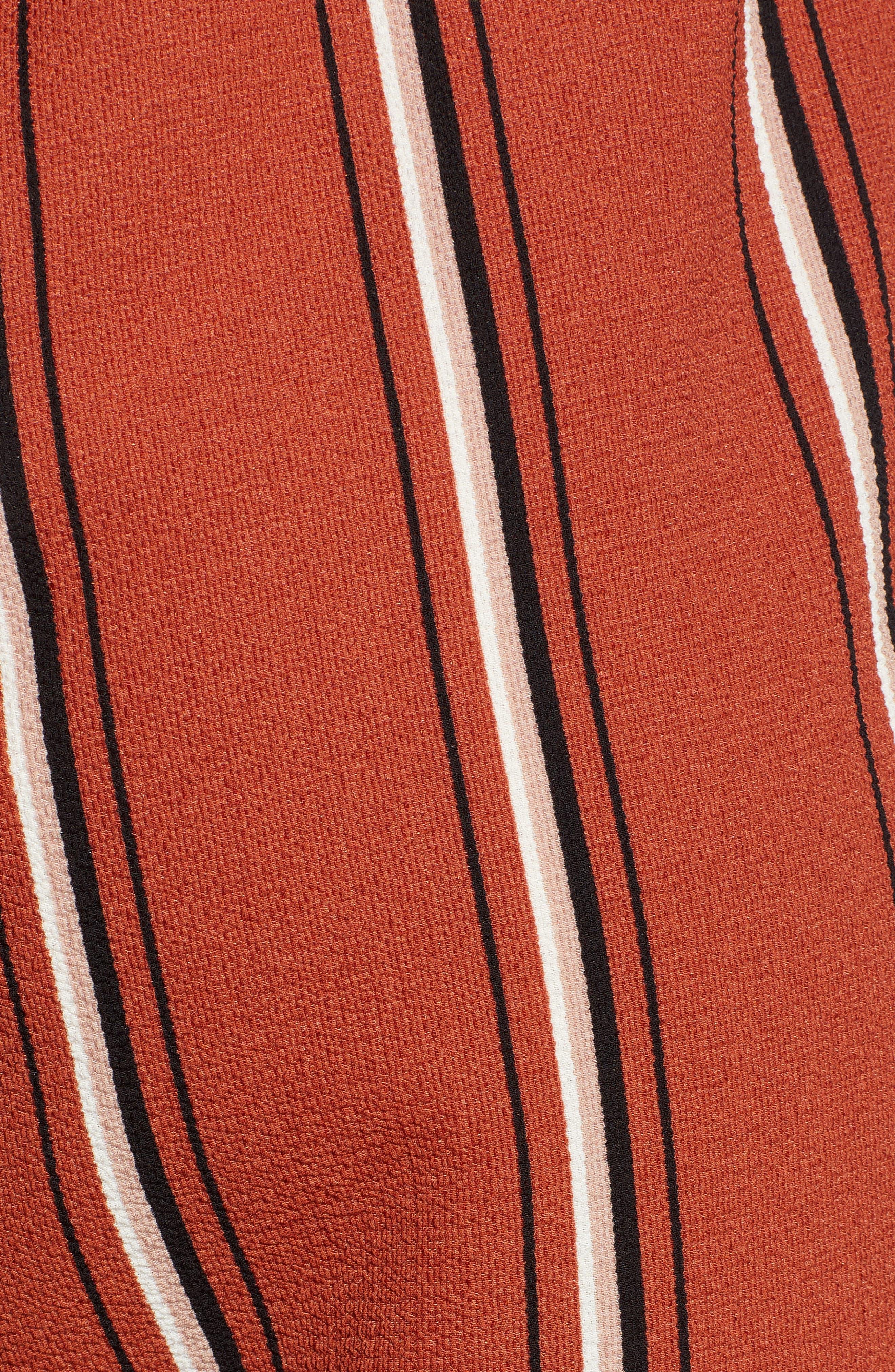 Tie Waist Stripe Wide Leg Crop Pants,                             Alternate thumbnail 6, color,                             RUST