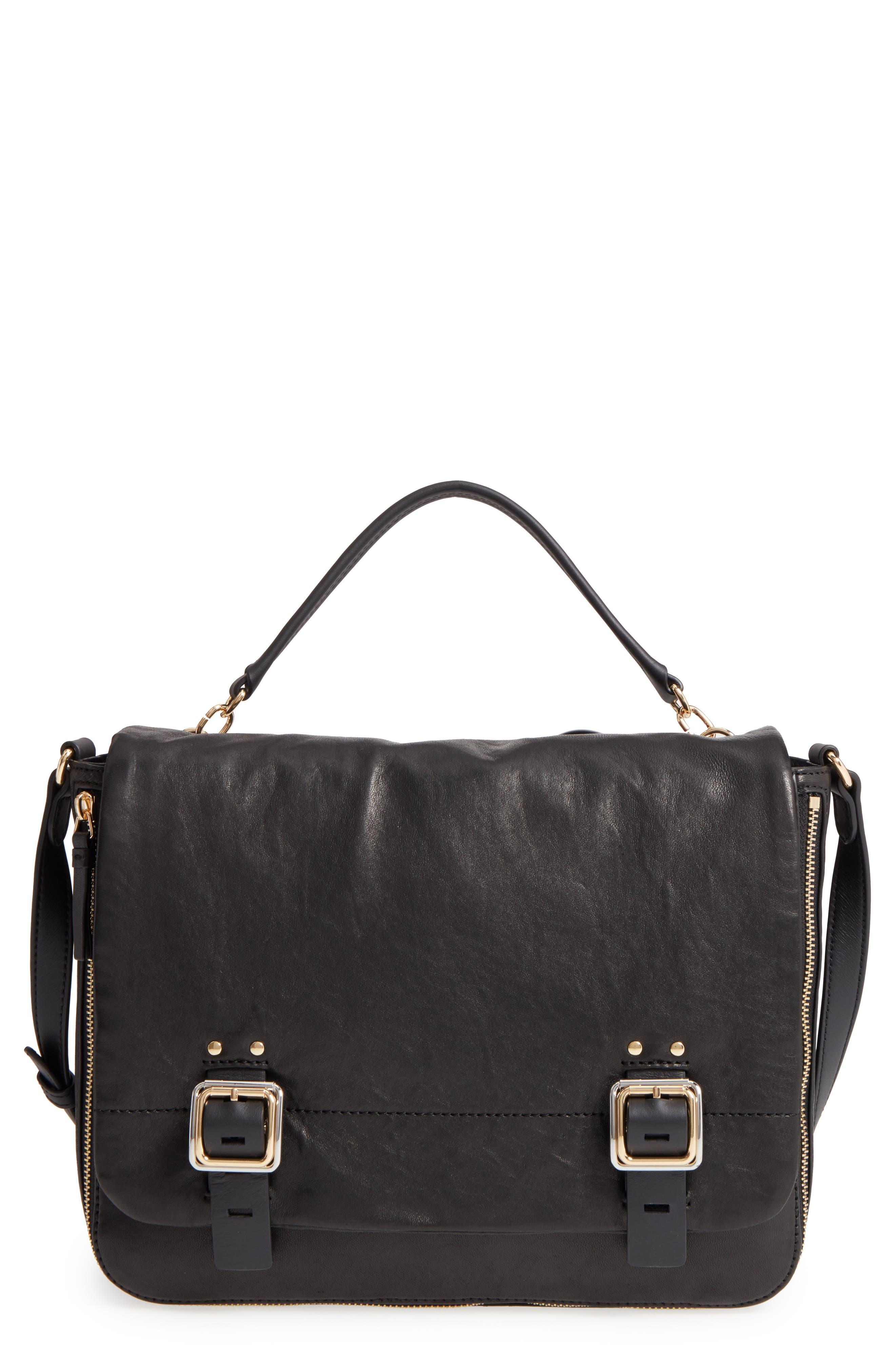 Delos Leather Messenger Bag,                         Main,                         color, 002
