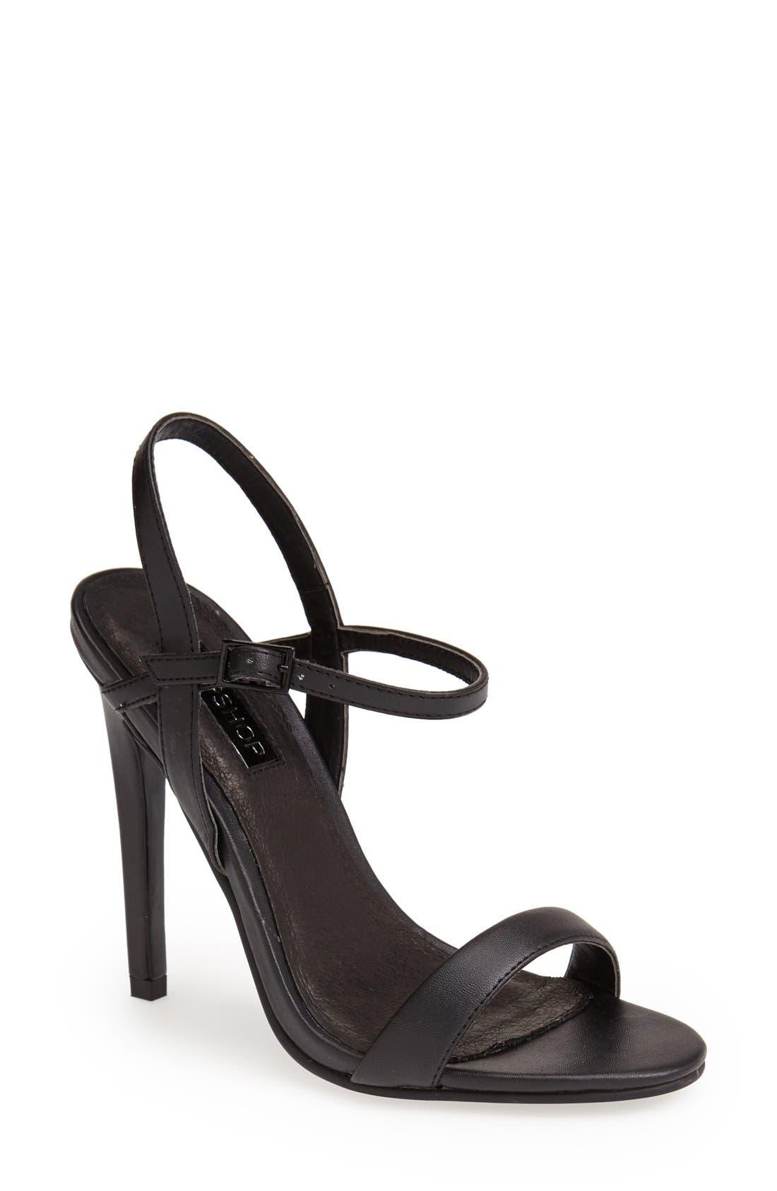 'Rolo' Ankle Strap Sandal,                             Main thumbnail 1, color,                             001