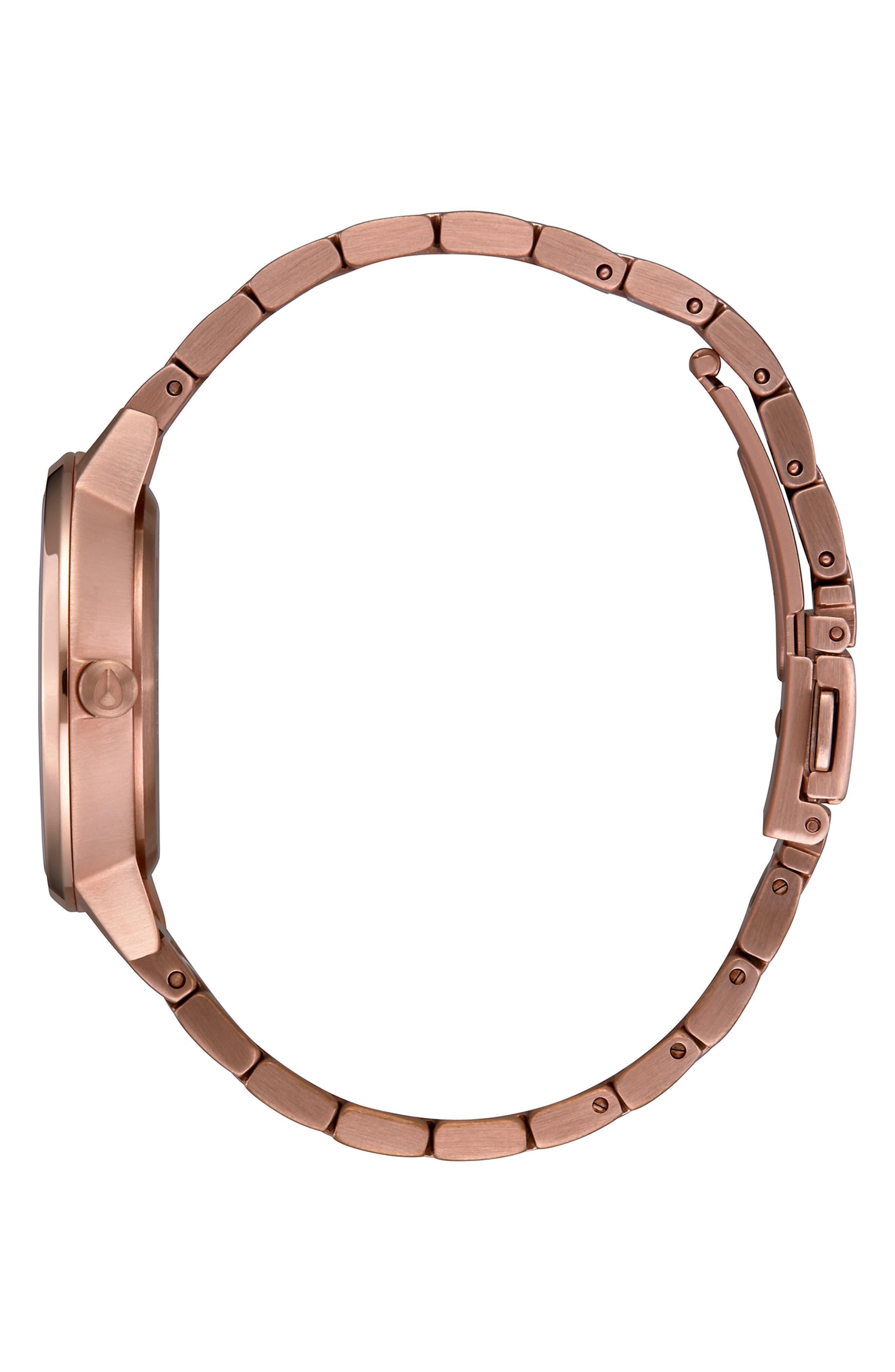NIXON,                             Medium Kensington Bracelet Watch, 32mm,                             Alternate thumbnail 3, color,                             ROSE GOLD
