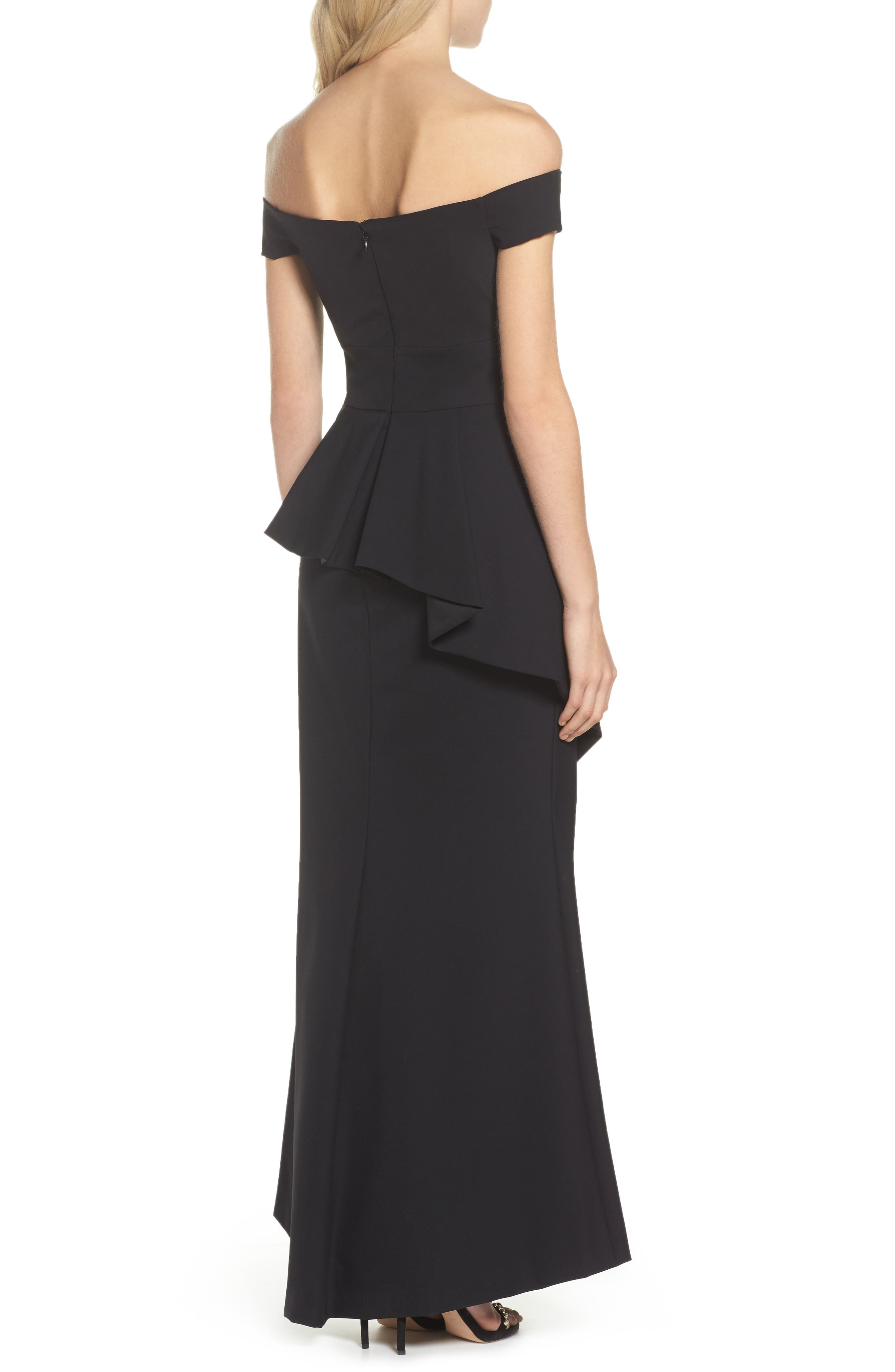 Pleated Peplum Off the Shoulder Gown,                             Alternate thumbnail 2, color,                             001