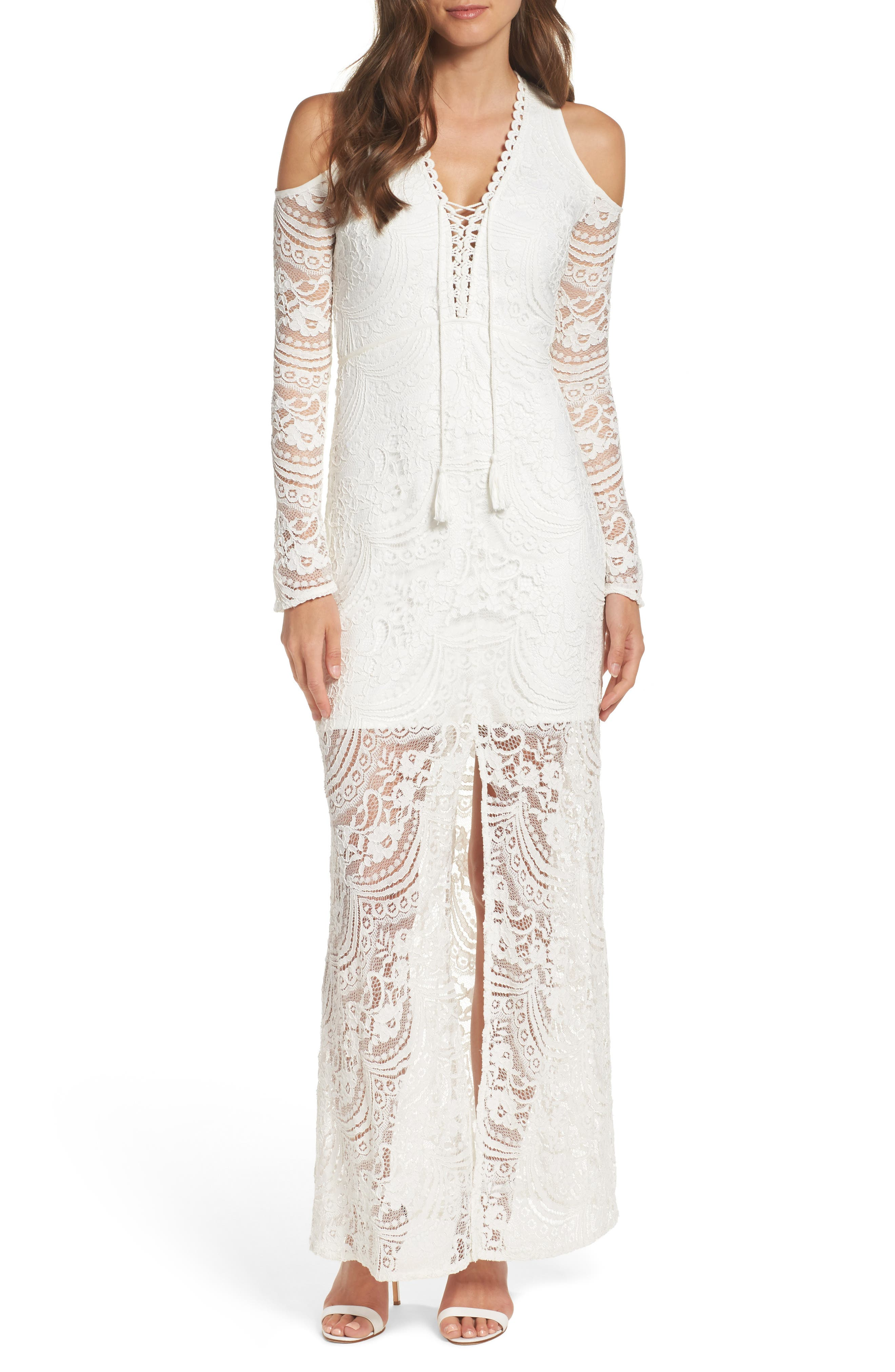 Lace-Up Cold Shoulder Gown,                             Main thumbnail 1, color,                             100