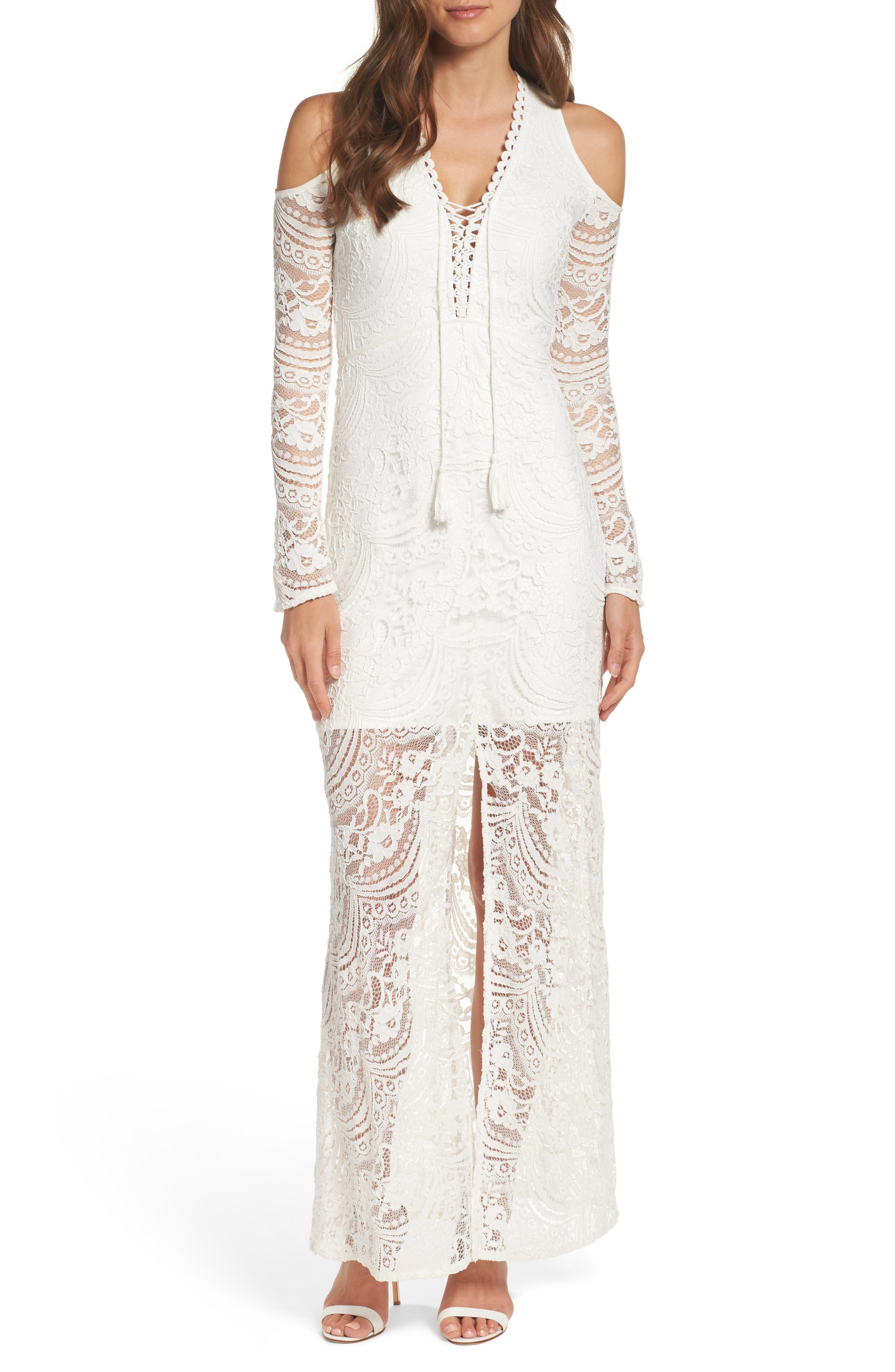 Lace-Up Cold Shoulder Gown,                         Main,                         color, 100