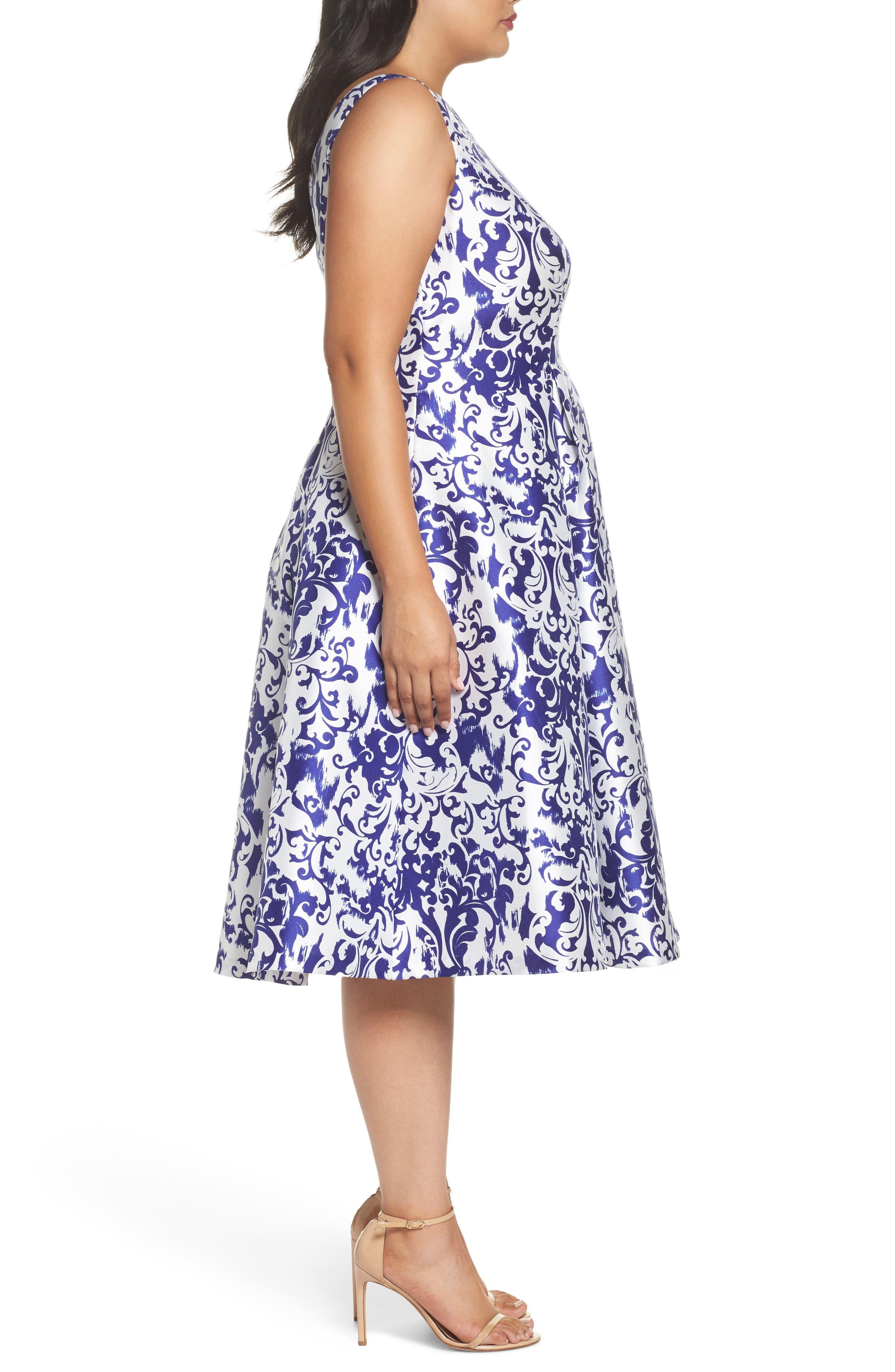 Fit & Flare Dress,                             Alternate thumbnail 3, color,                             480