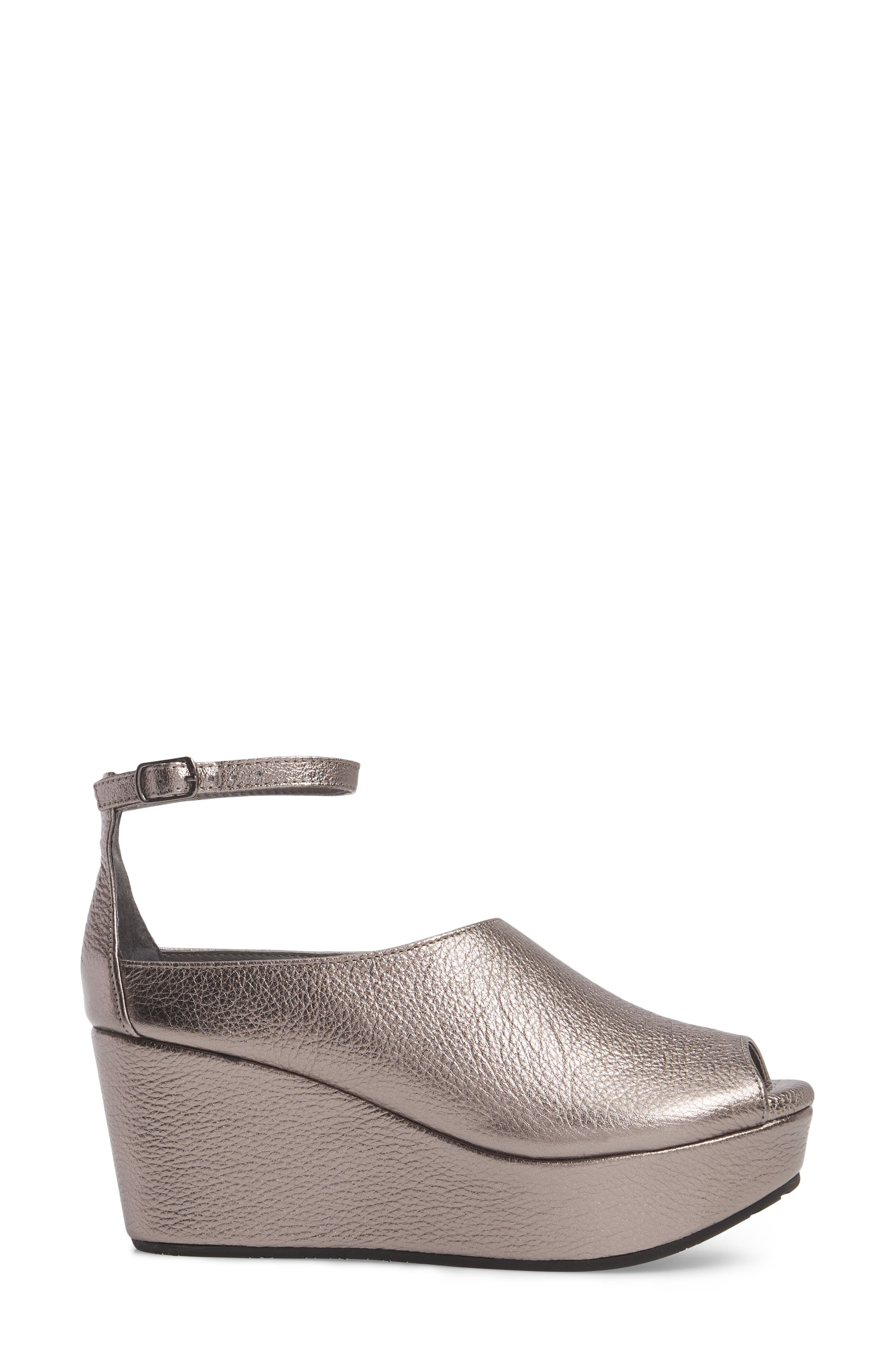 Walter Ankle Strap Wedge Sandal,                             Alternate thumbnail 3, color,                             GUNMETAL LEATHER