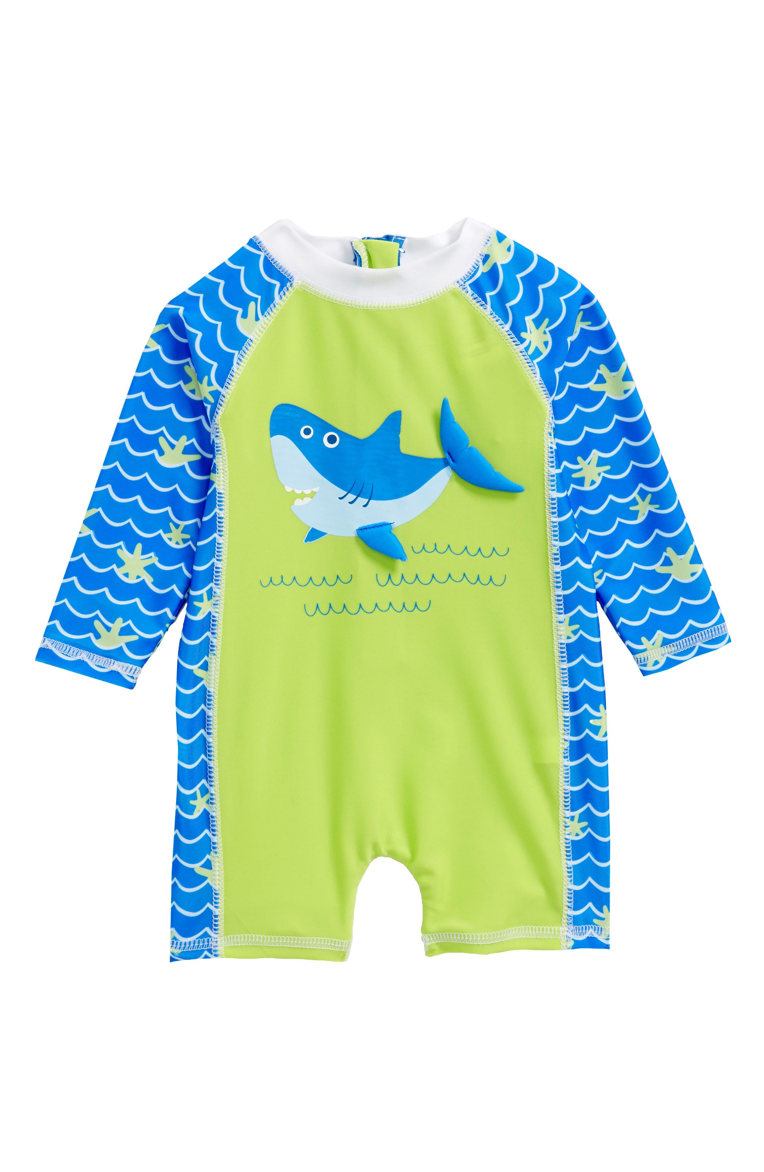Shark Surf One-Piece Rashguard Swimsuit,                         Main,                         color, GREEN MULTI