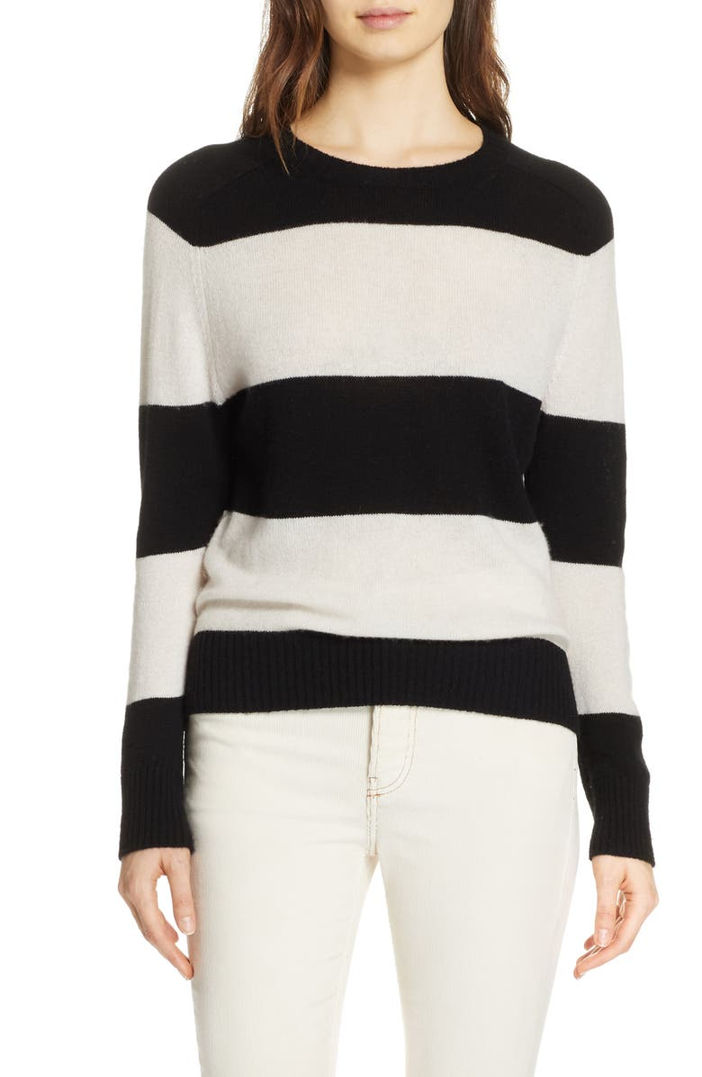 Stripe Wool & Cashmere Sweater, Main, color, BLACK/ IVORY