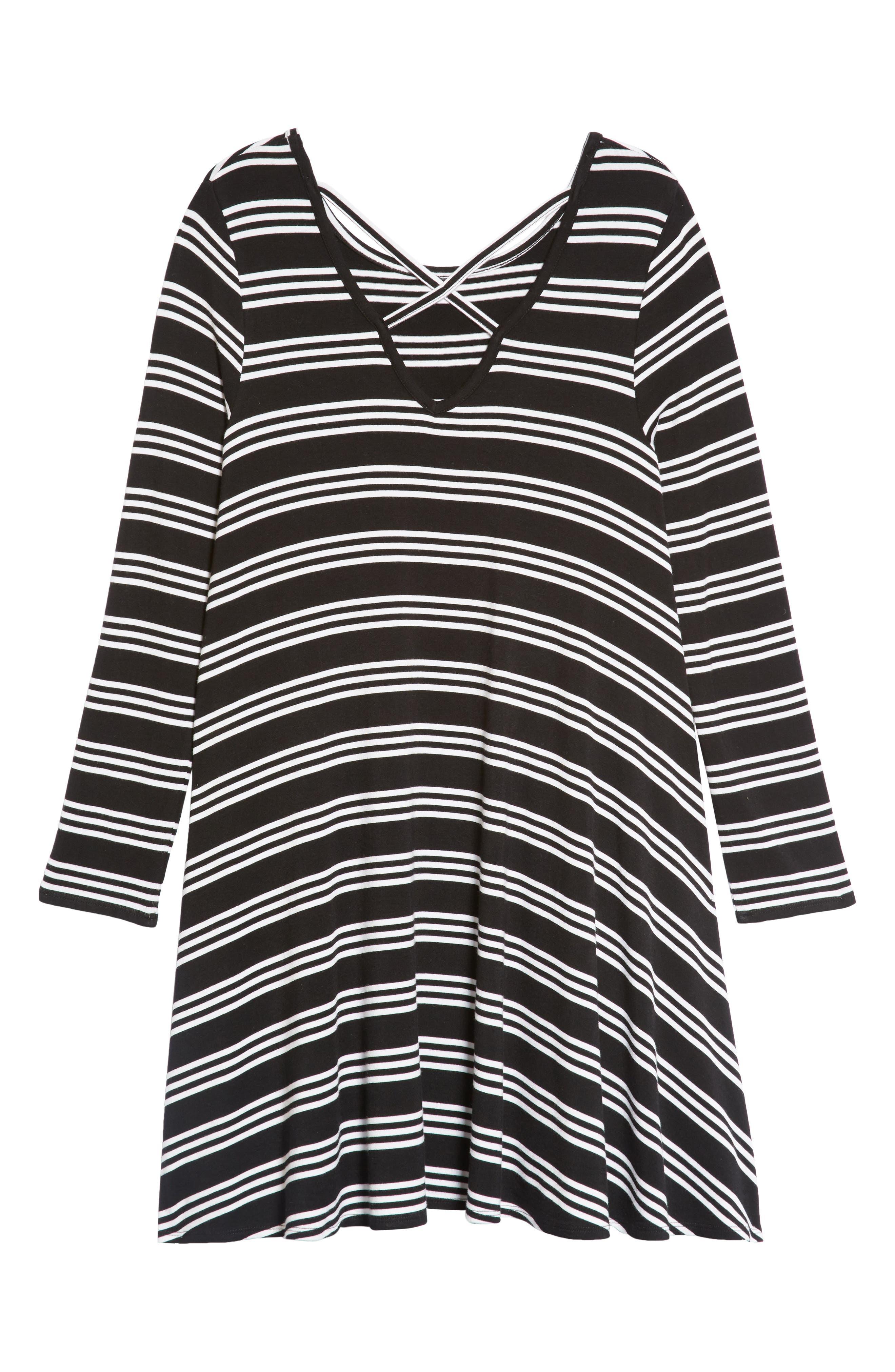 Stripe Trapeze Dress,                             Alternate thumbnail 2, color,                             BLACK- WHITE STRIPE